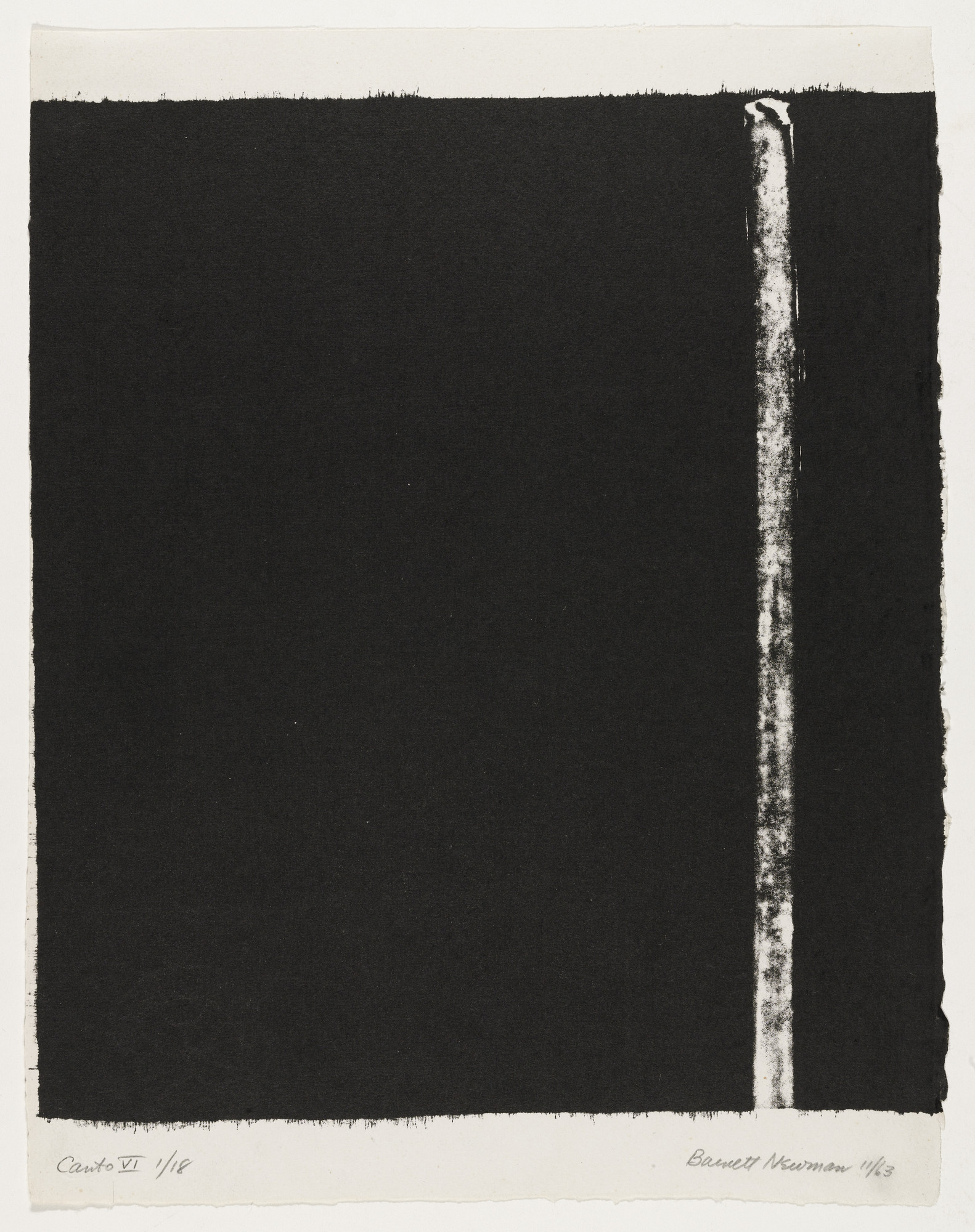 Barnett Newman. Canto VI from 18 Cantos. 1963