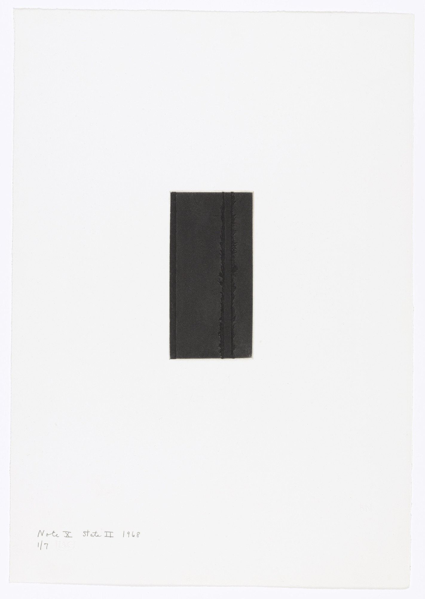 Barnett Newman. Note X (State II) from Notes. 1968