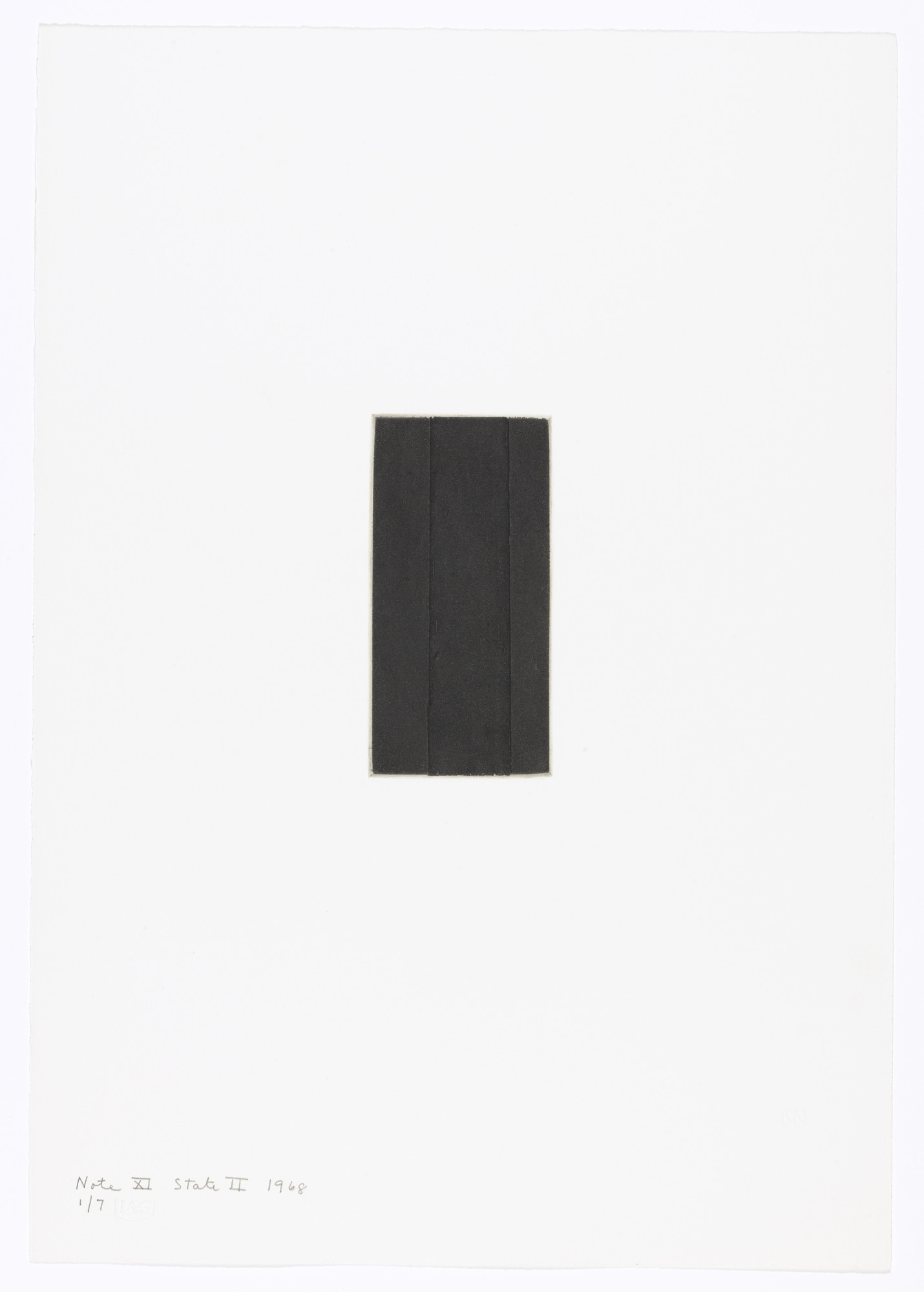 Barnett Newman. Note XI (State II) from Notes. 1968