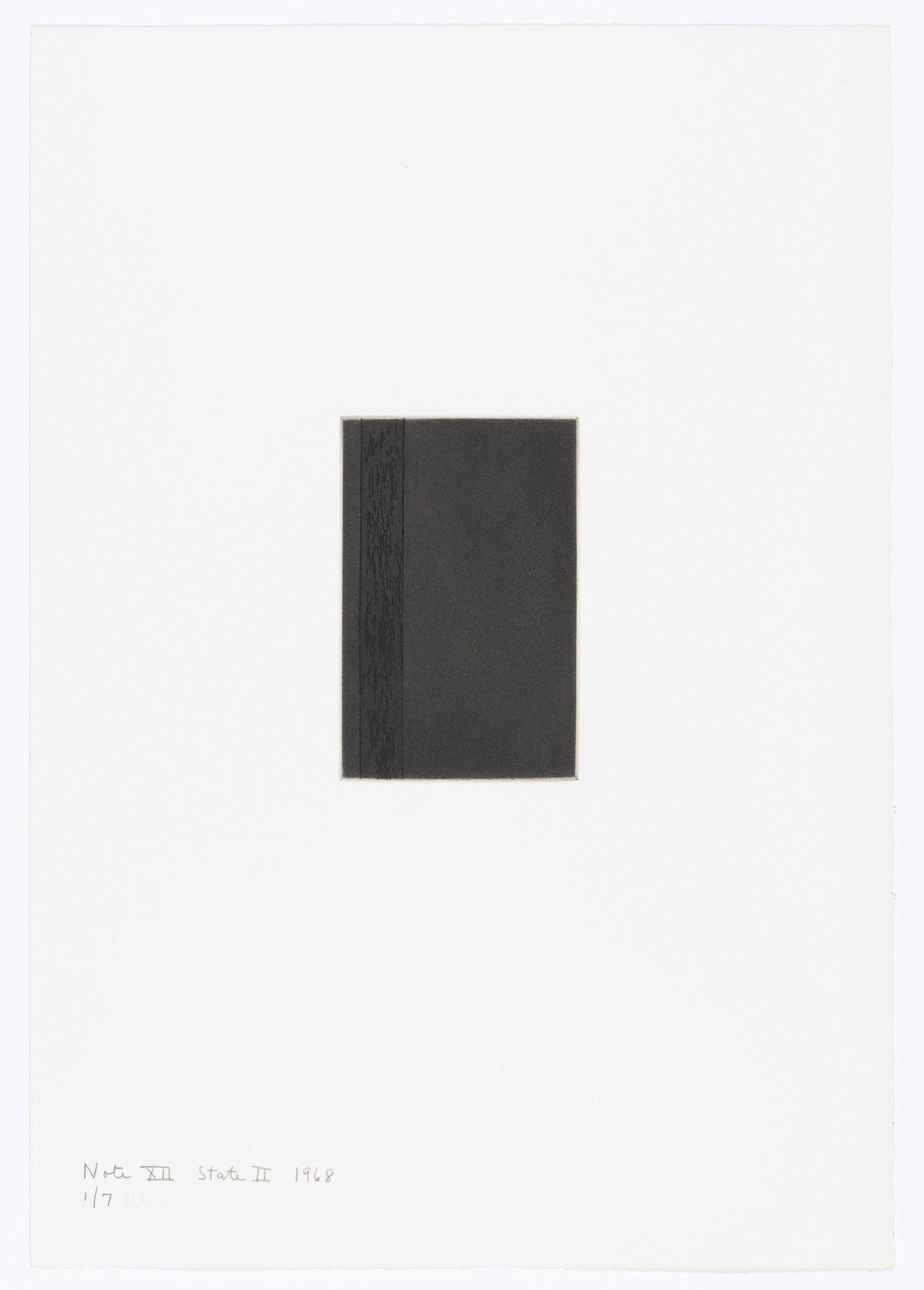 Barnett Newman. Note XII (State II) from Notes. 1968