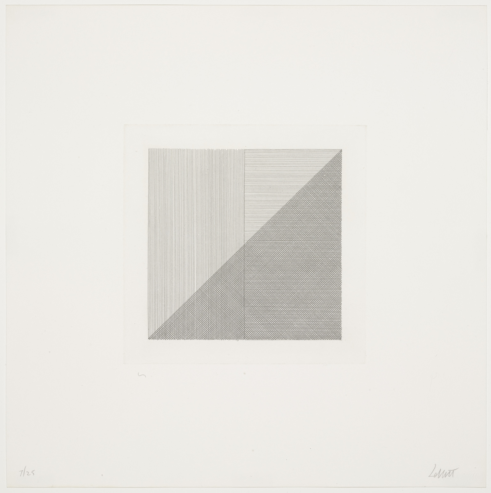 Sol LeWitt. Squares with a Different Line Direction in Each Half Square. 1971