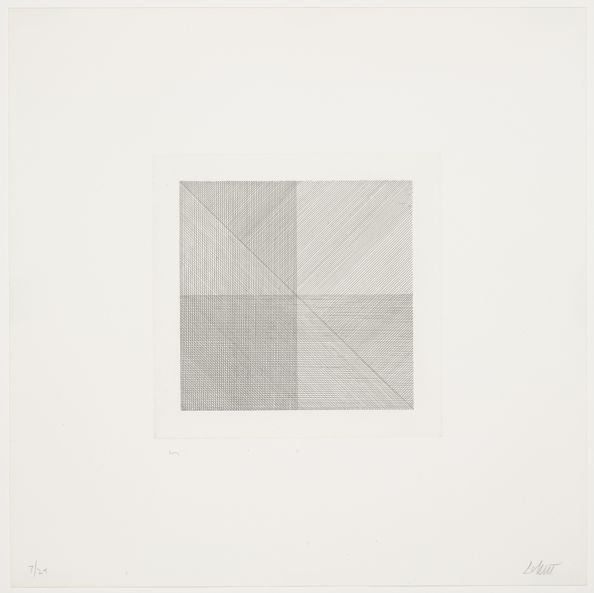 Sol LeWitt. Untitled from Squares with a Different Line Direction in Each Half Square. 1971