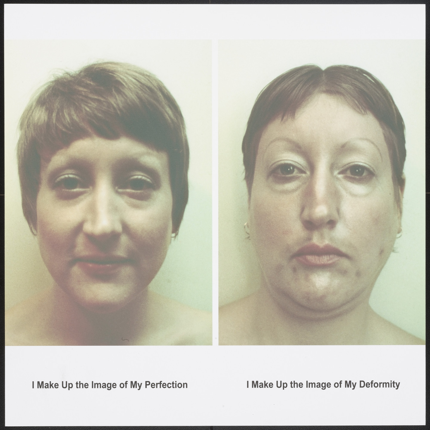 Martha Wilson. I Make Up the Image of My Perfection/ I Make Up the Image of My Deformity from Femfolio. 2009