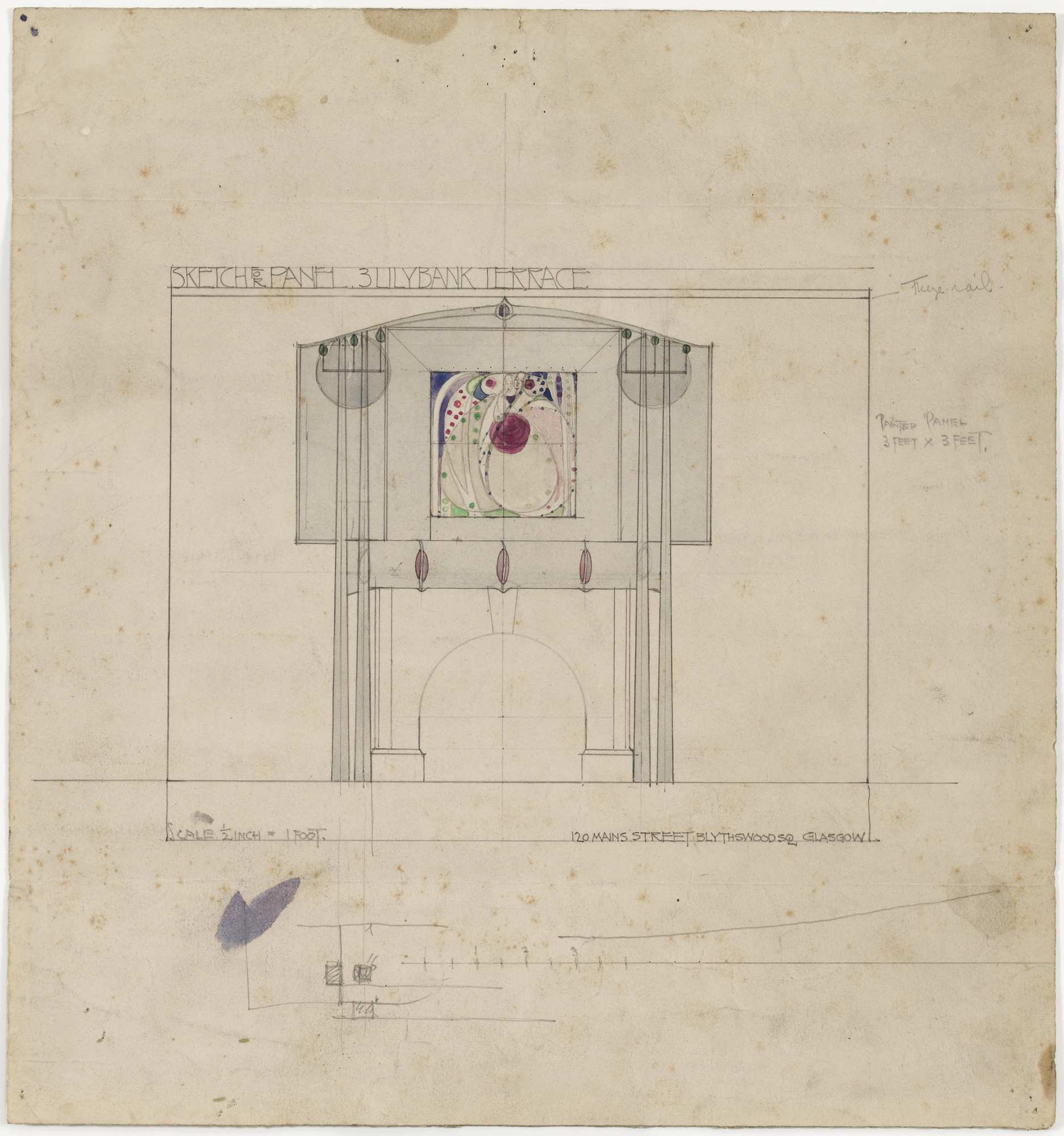 Charles Rennie Mackintosh, Margaret Macdonald. Design for Mantelpiece Incorporating Painted Panel, 3 Lilybank Terrace, Glasgow, Scotland. 1901