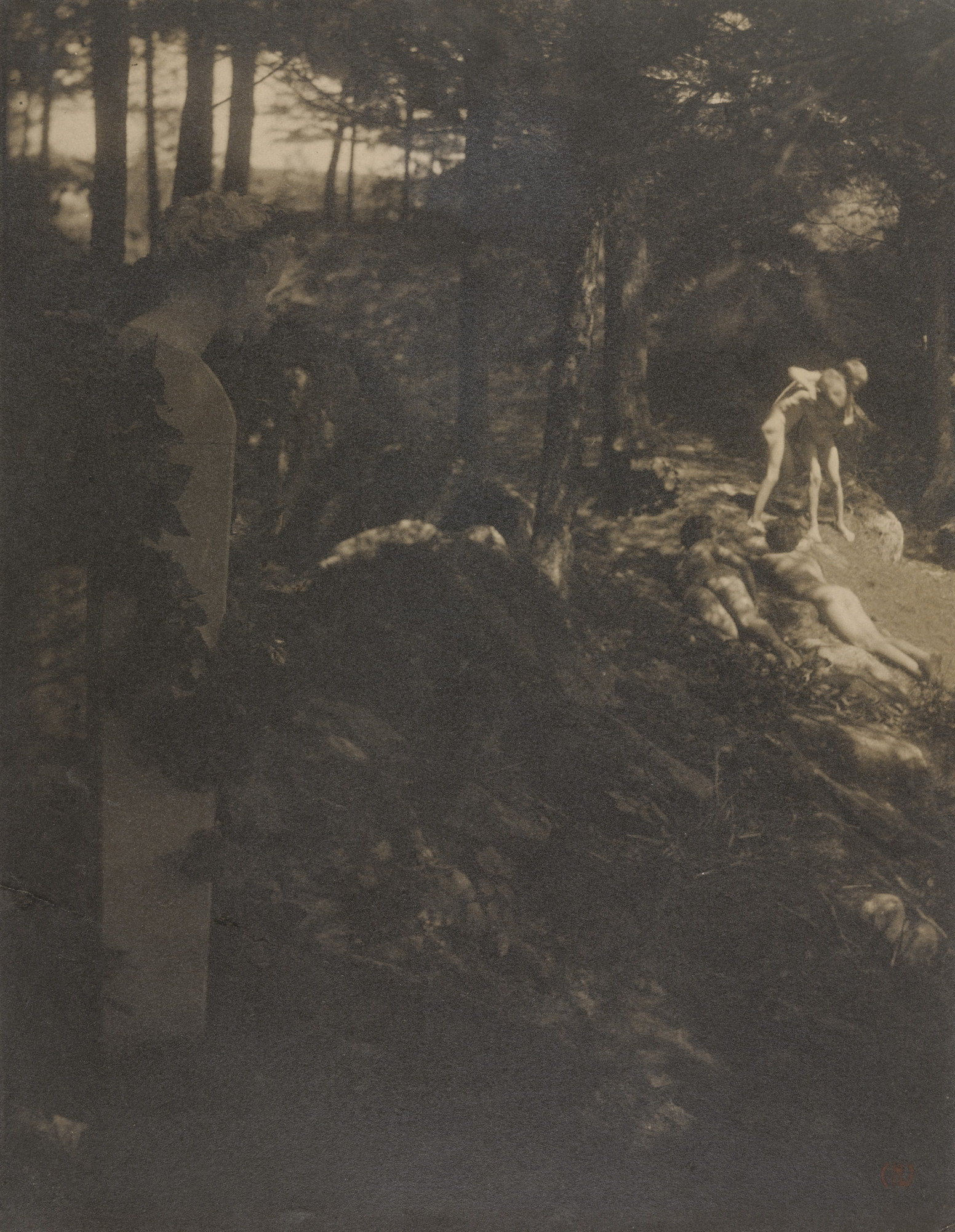 Clarence H. White. Boys Wrestling. Before 1908