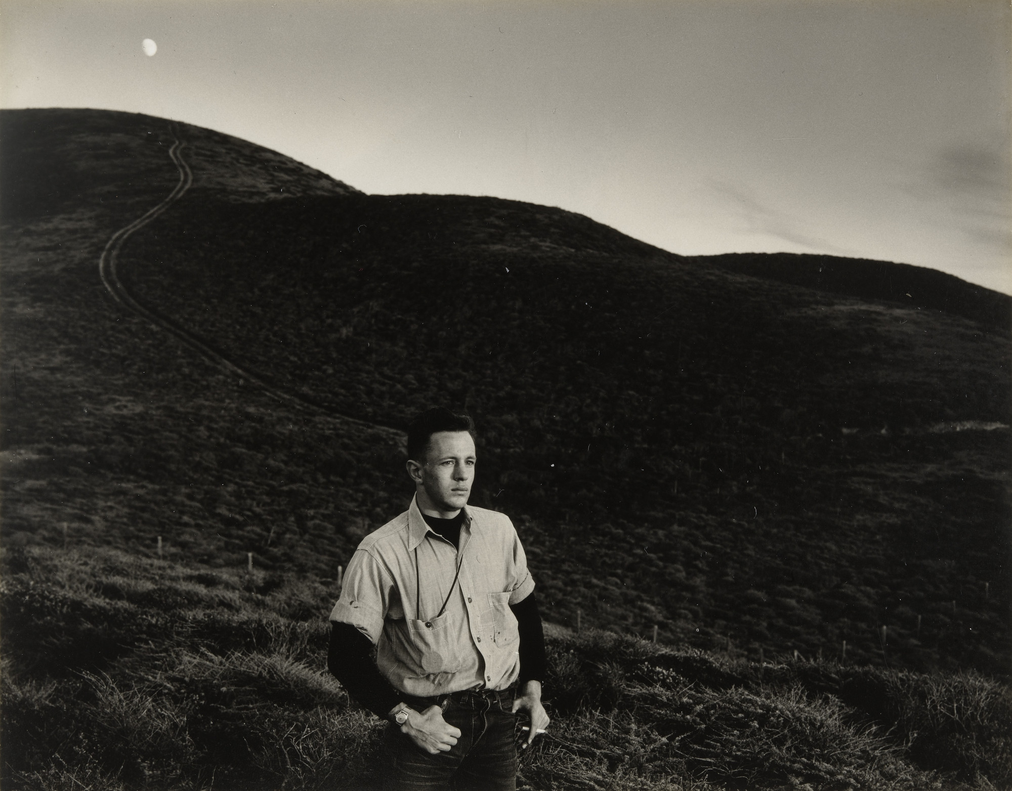Minor White. Man and Moon, Matchstick Cove. 1947