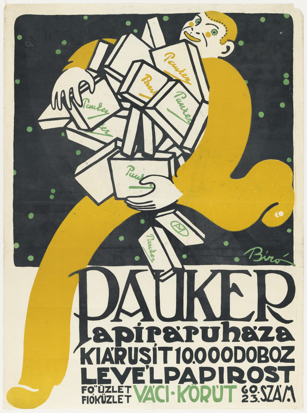 Mihály Biró. Pauker (Poster advertising paper products). 1911-12