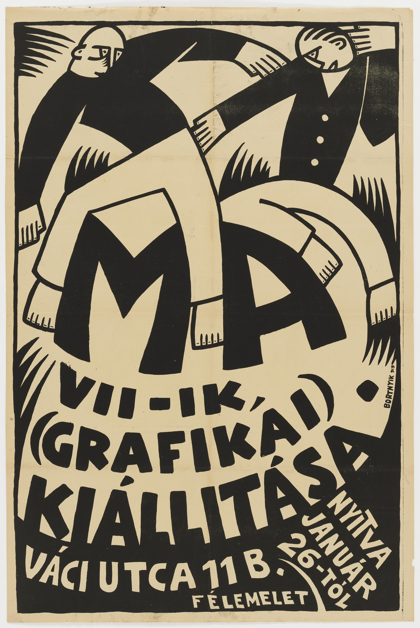 Sándor (Alexander) Bortnyik. MA VII - IK (Grafikai) Kiállitása (Poster for the 7th graphics exhibition of the Ma group, Budapest). 1919