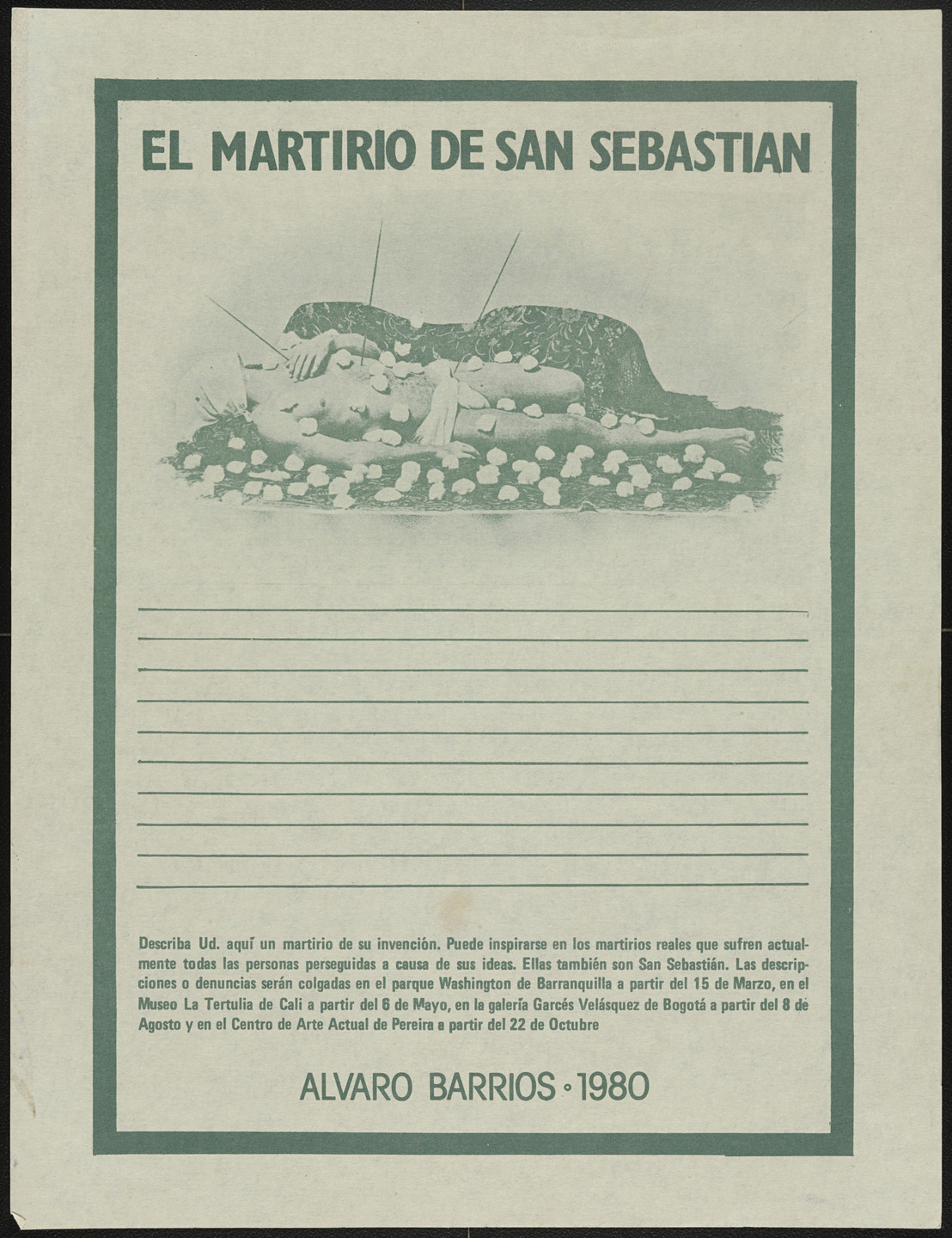 "Álvaro Barrios. Popular Print ""The Martyrdom of Saint Sebastian"". 1980"