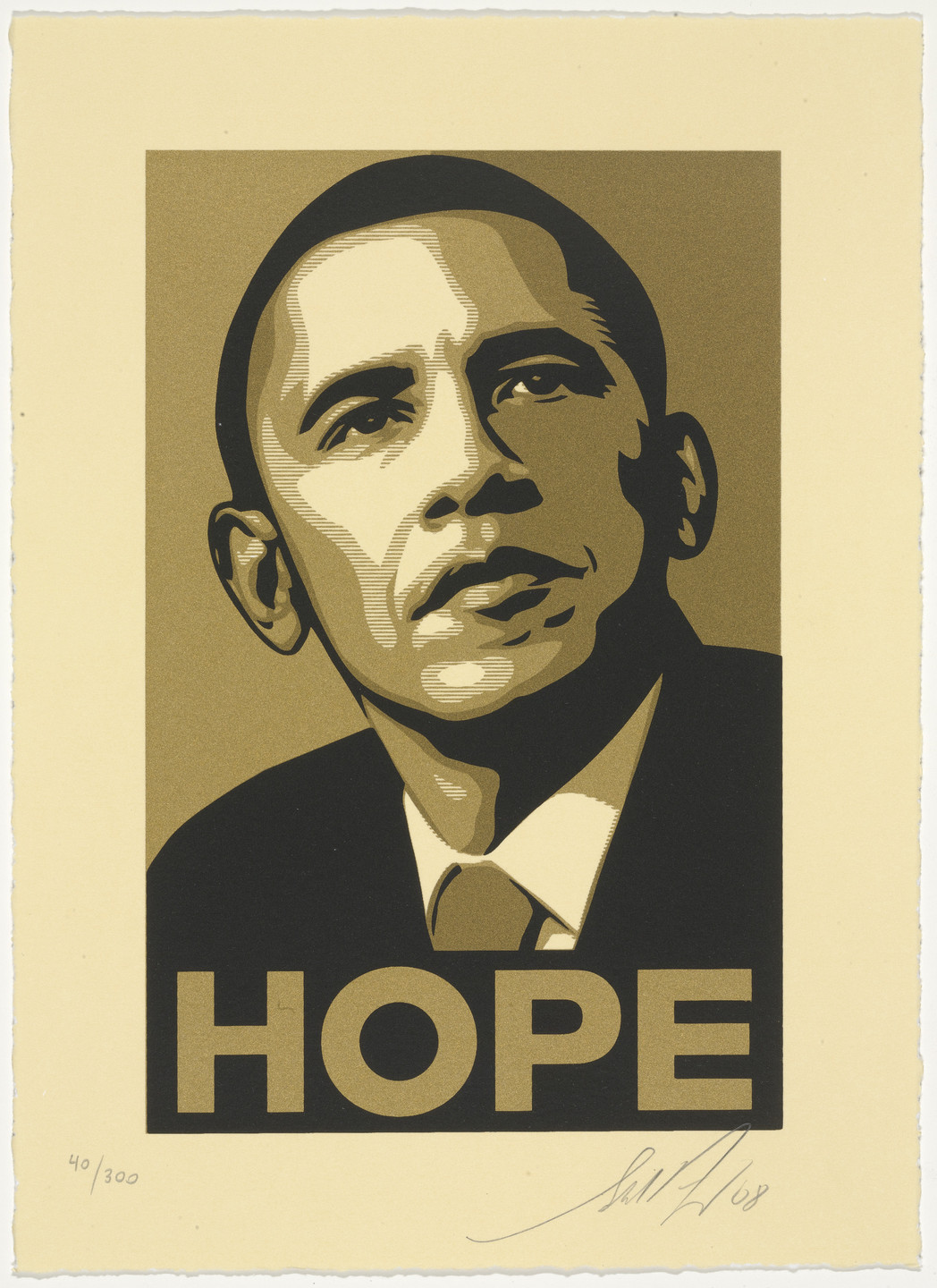 Frank Shepard Fairey. Obama Hope Gold from Artists for Obama. 2008