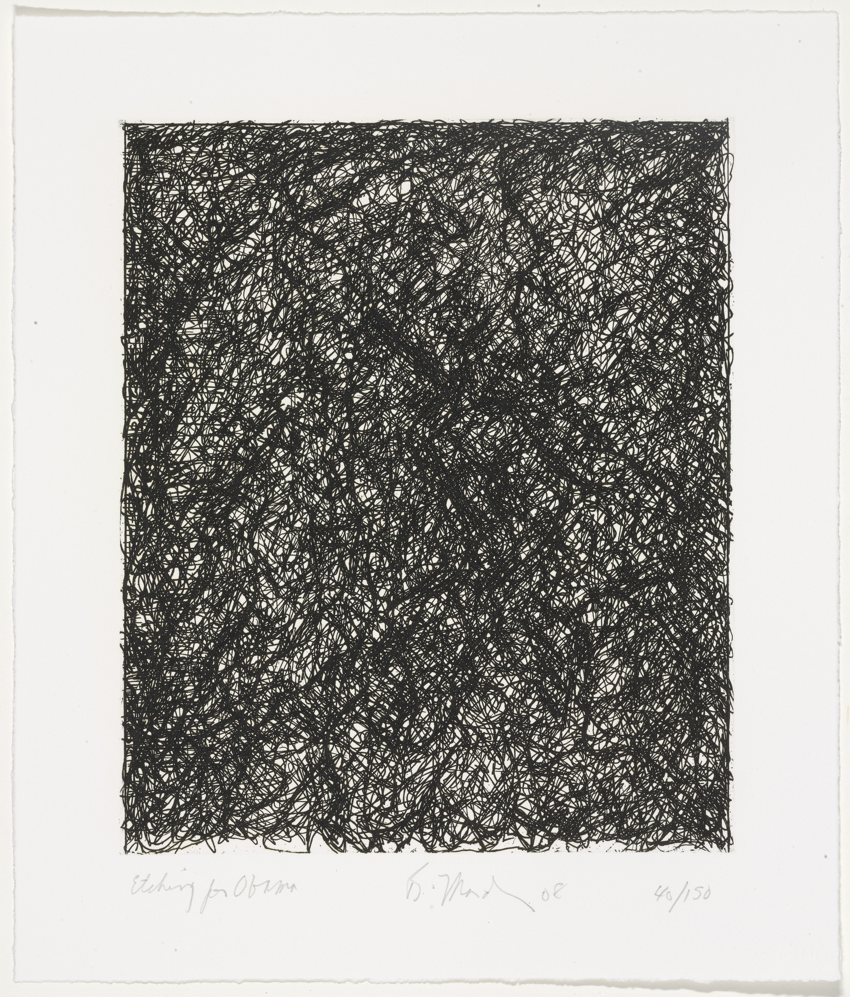 Brice Marden. Etching for Obama from Artists for Obama. 2008