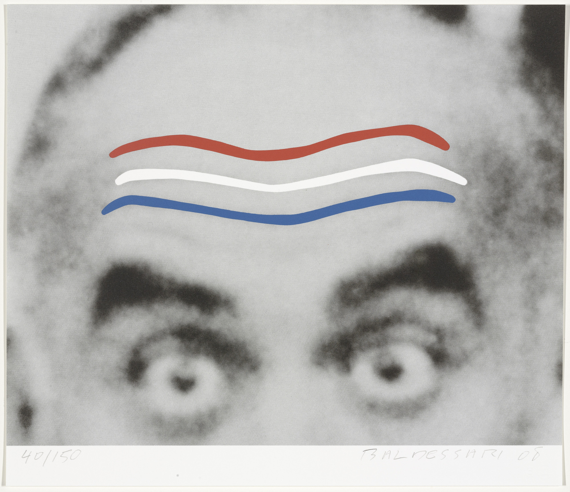John Baldessari. Raised Eyebrows/Furrowed Foreheads (Red, White, and Blue) from Artists for Obama. 2008