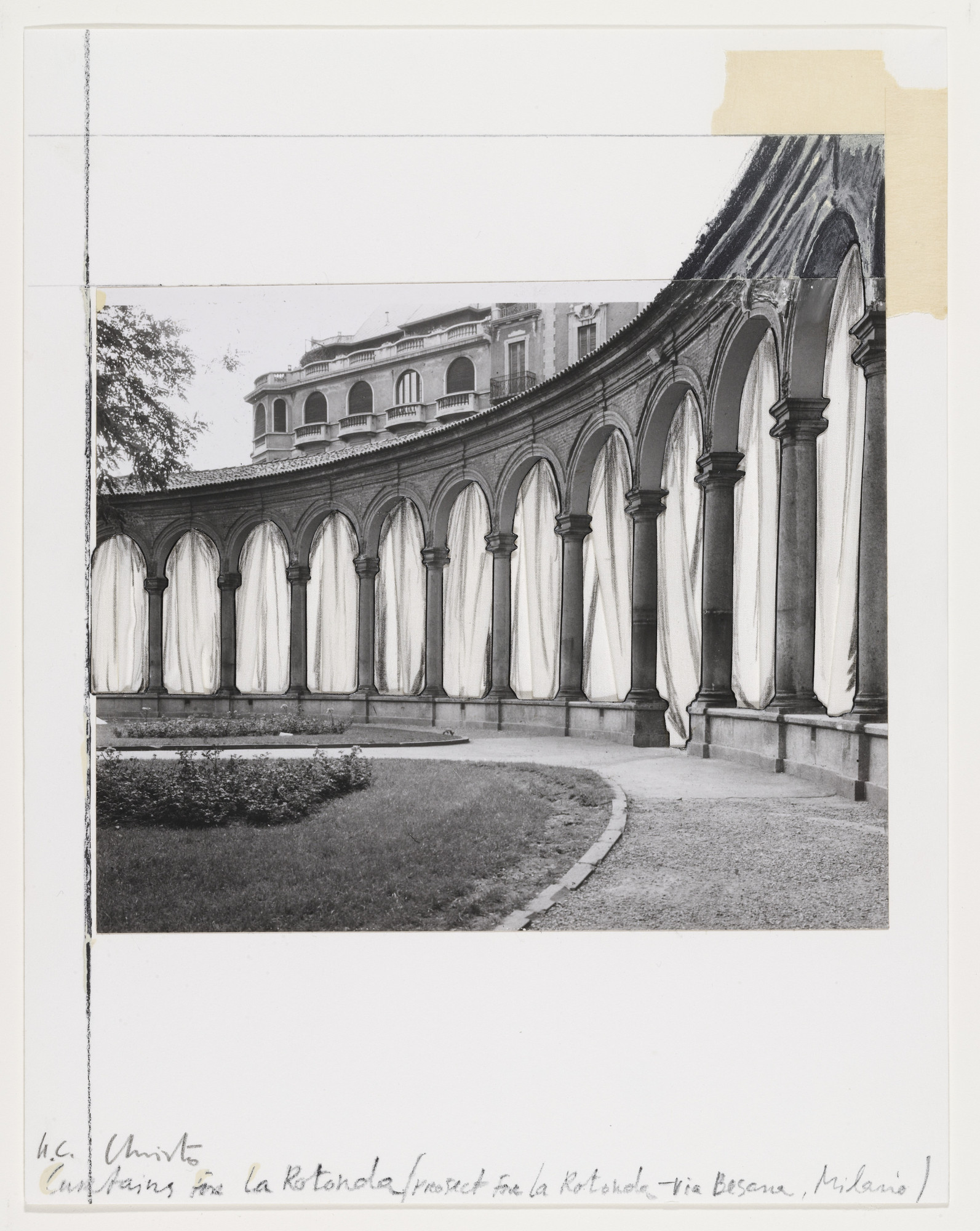 Christo. Curtains for La Rotunda, Project for Milan from the portfolio Five Urban Projects. (1985)