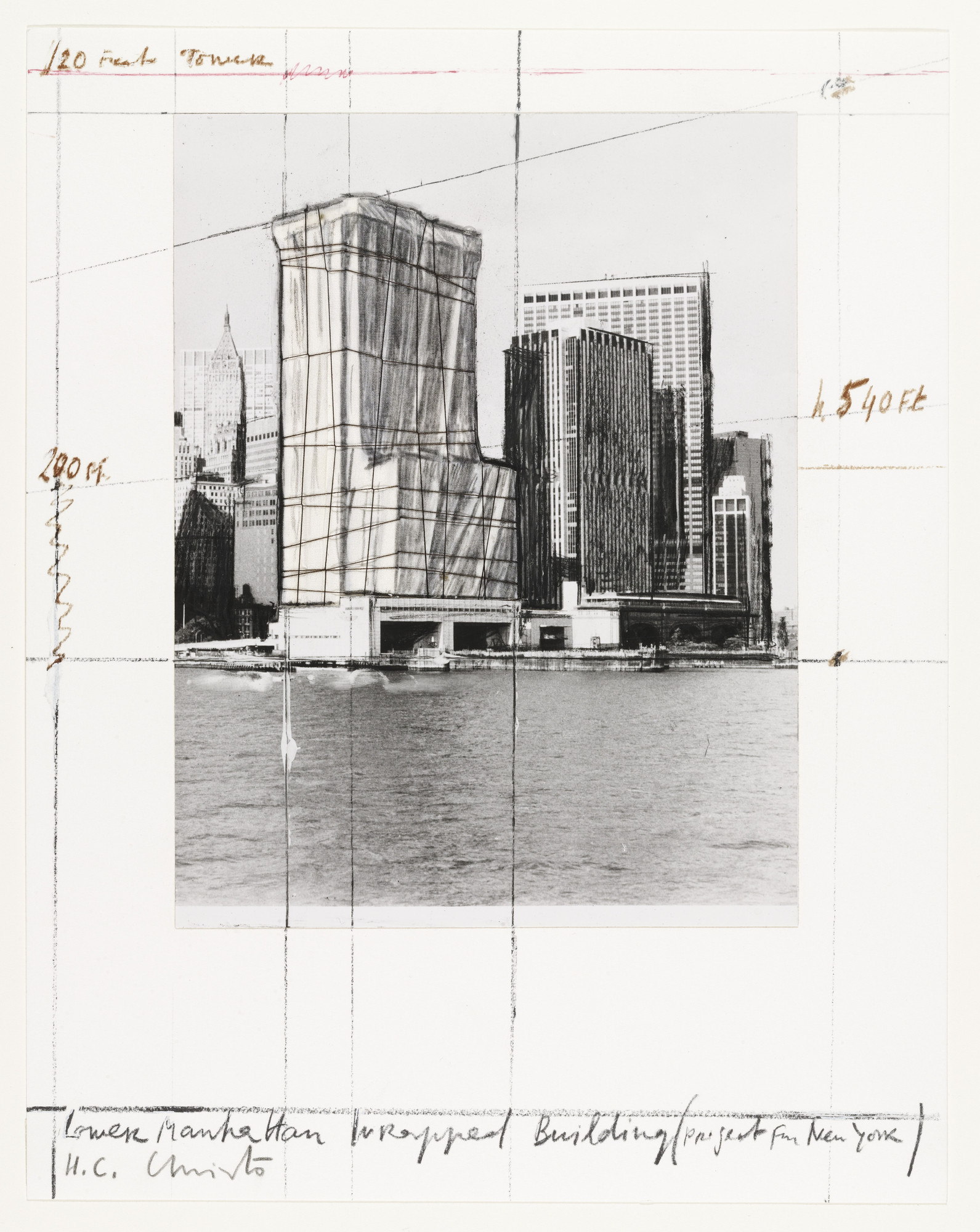 Christo. Lower Manhattan Wrapped Building, Project for New York from the portfolio Five Urban Projects. 1985