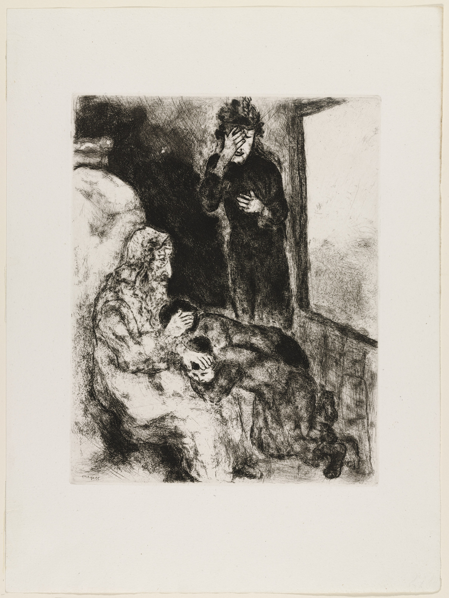 Marc Chagall. Jacob Blessing the Children of Joseph. (1931)