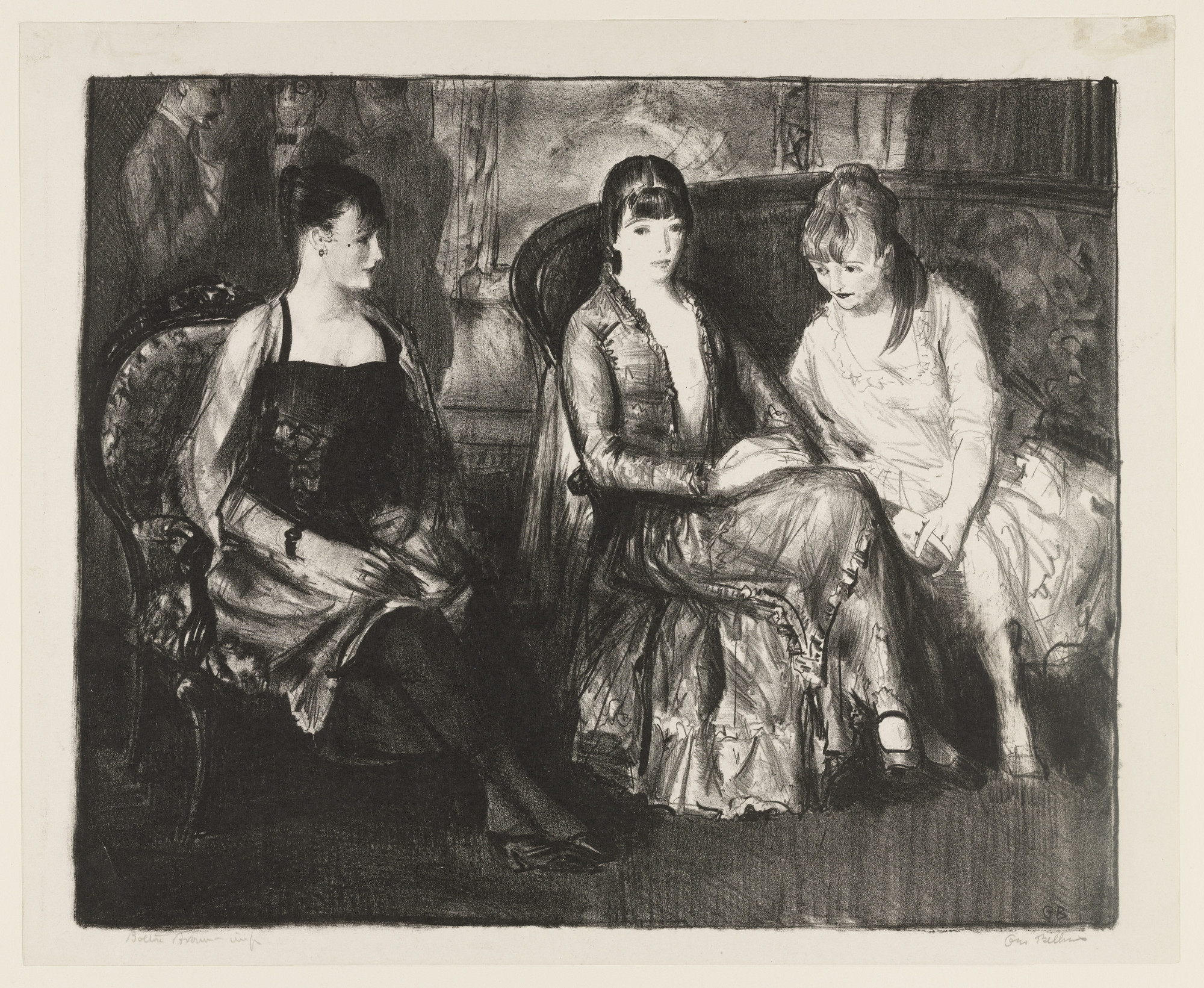 George Bellows. Marjorie, Emma, and Elsie, second stone. 1921