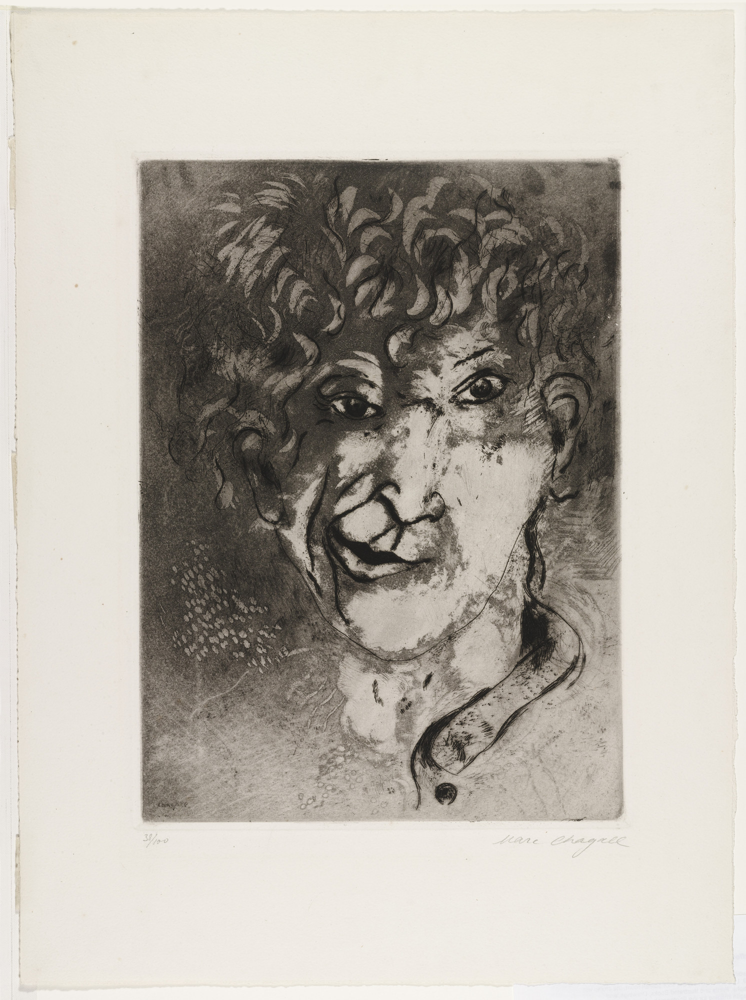 Marc Chagall. Self Portrait with Grimace. c. 1924–25