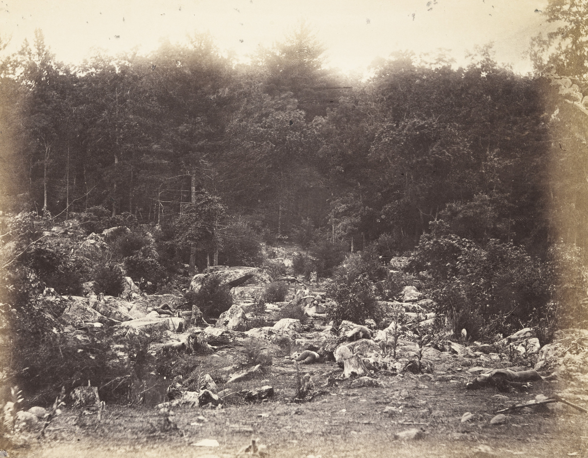 Alexander Gardner, Timothy O'Sullivan. Slaughter Pen, Foot of the Round Top, Gettysburg. July, 1863