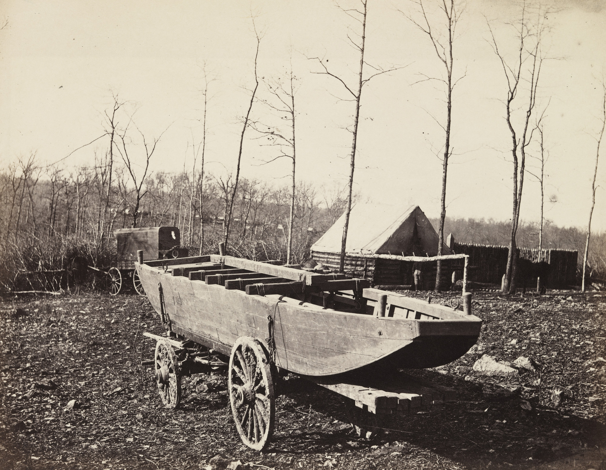 Alexander Gardner, Timothy O'Sullivan. Pontoon Boat, Brandy Station, Virginia. February 1864