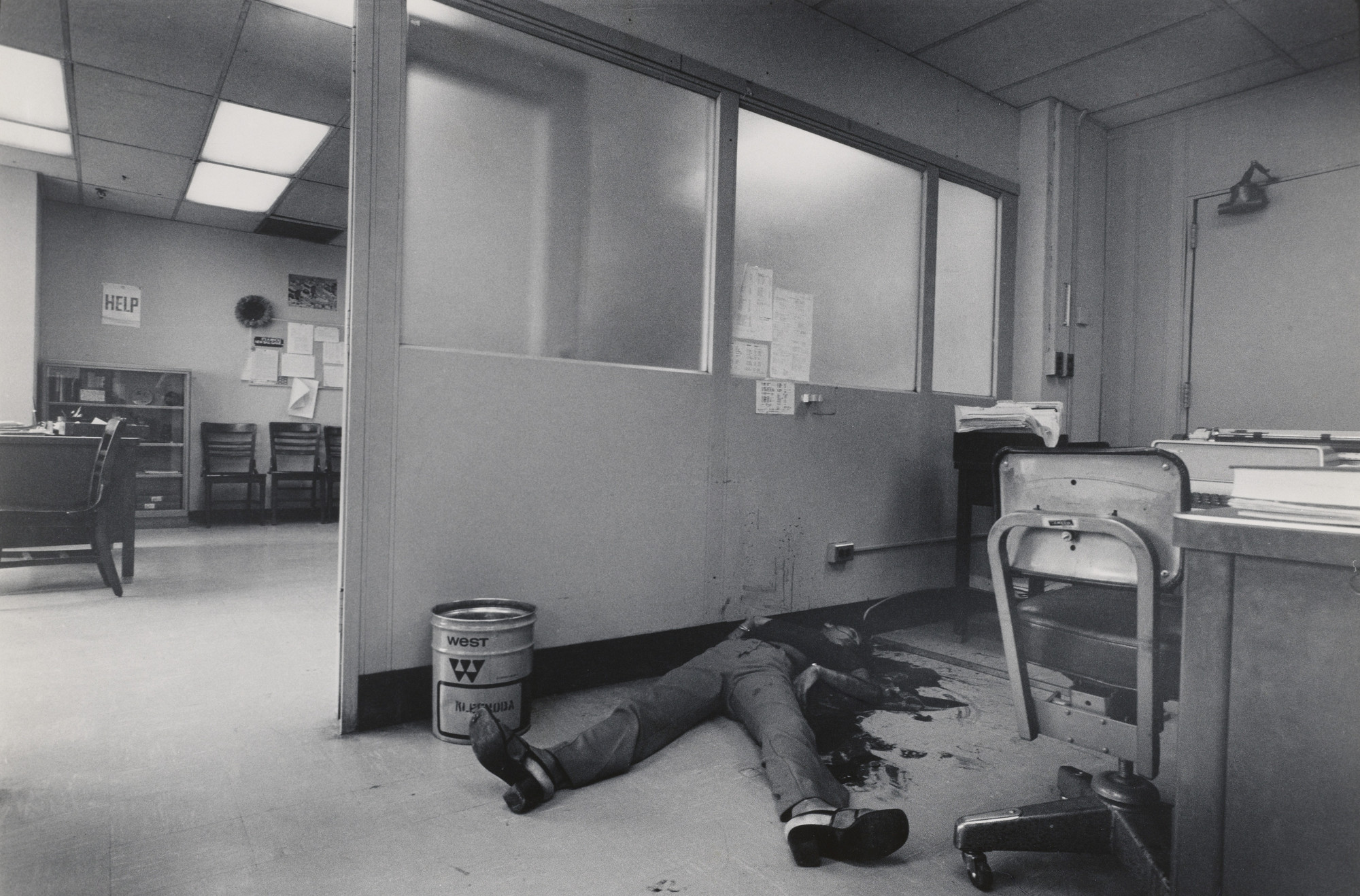 Leonard Freed. New York: Woman killed by her boyfriend at her place of employment. 1972