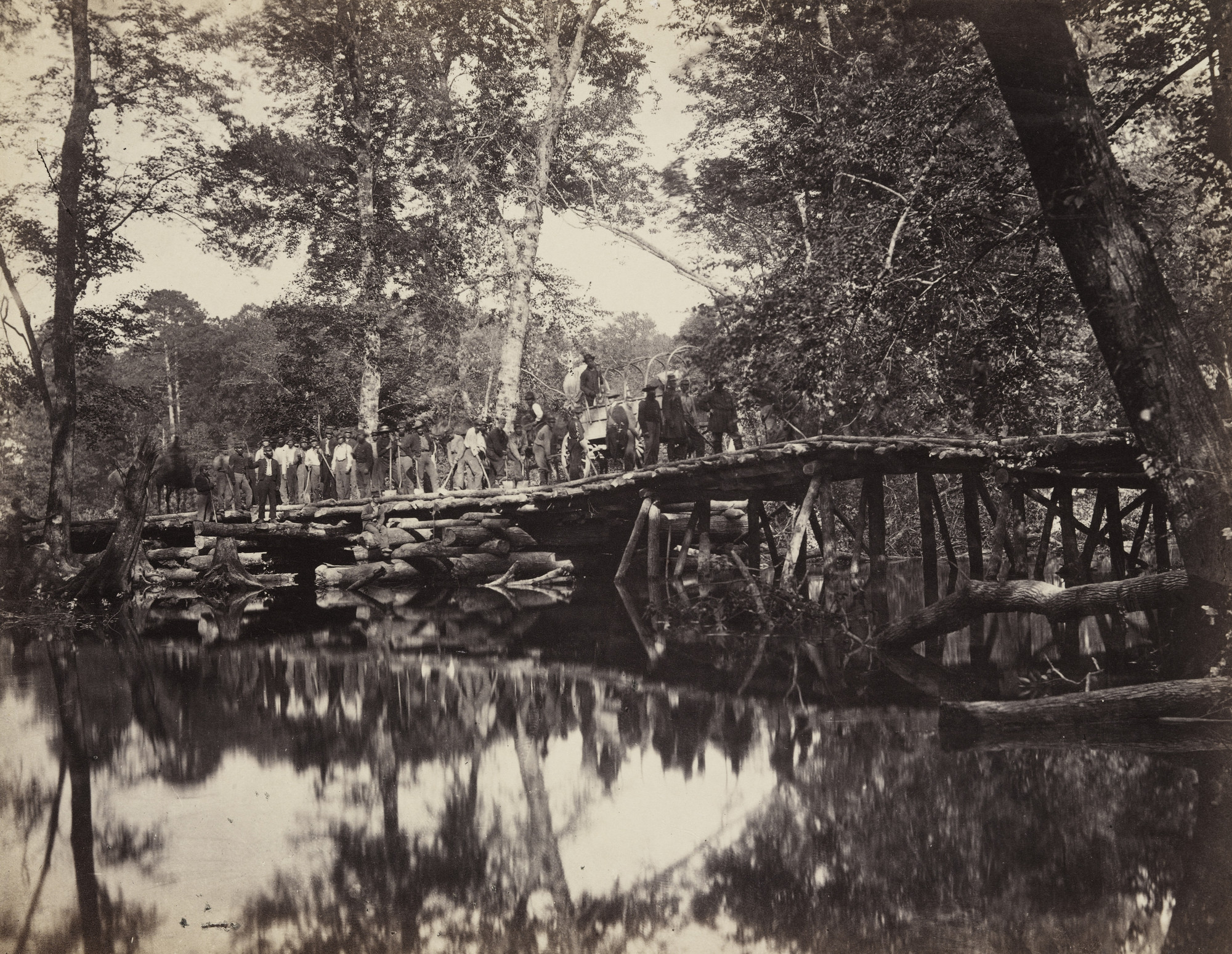 Alexander Gardner, D. B. Woodbury. Military Bridge, across the Chikahominy, Virginia. June, 1862
