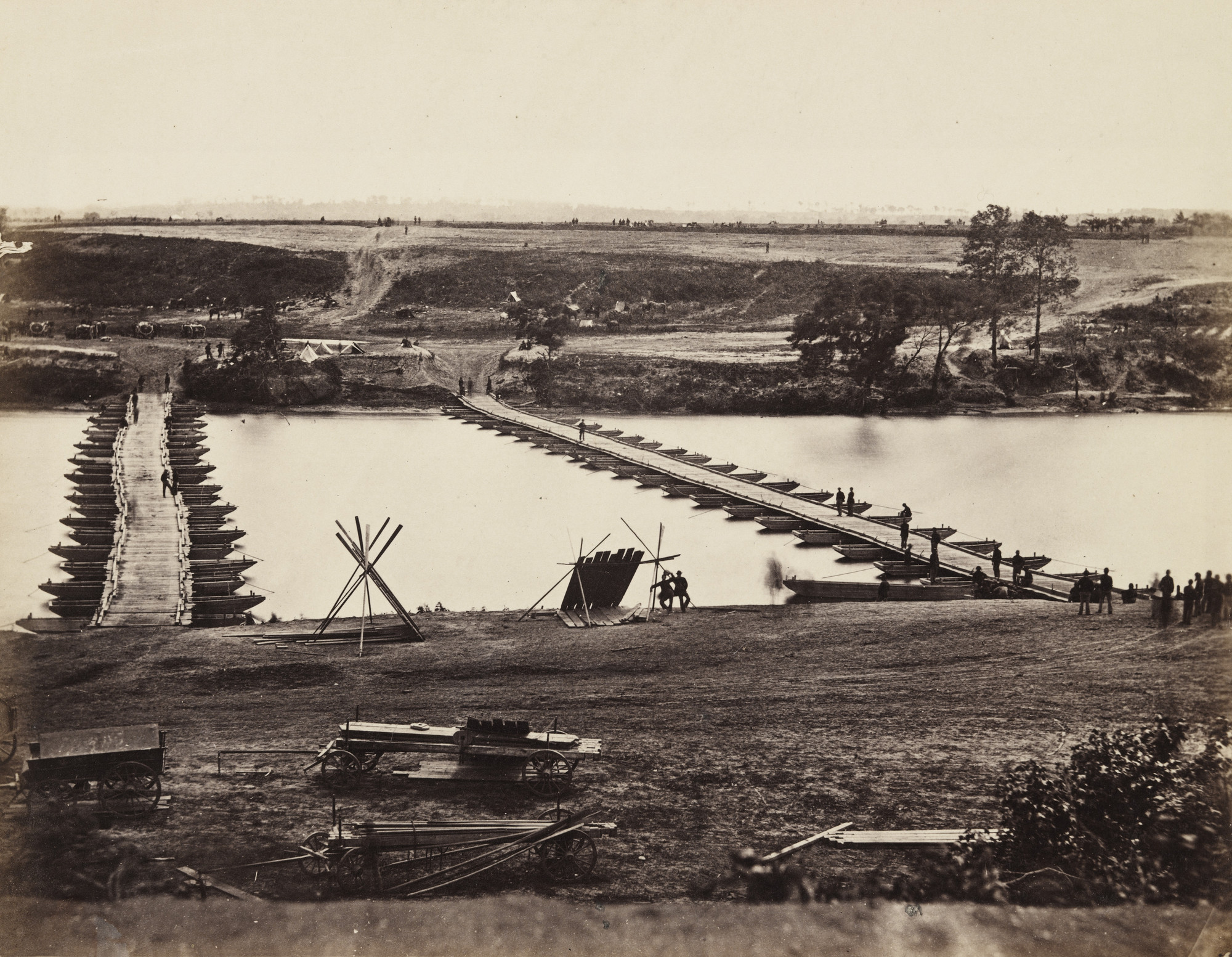 Alexander Gardner, Timothy O'Sullivan. Pontoon Bridge Across the Rappahannock. May 1863