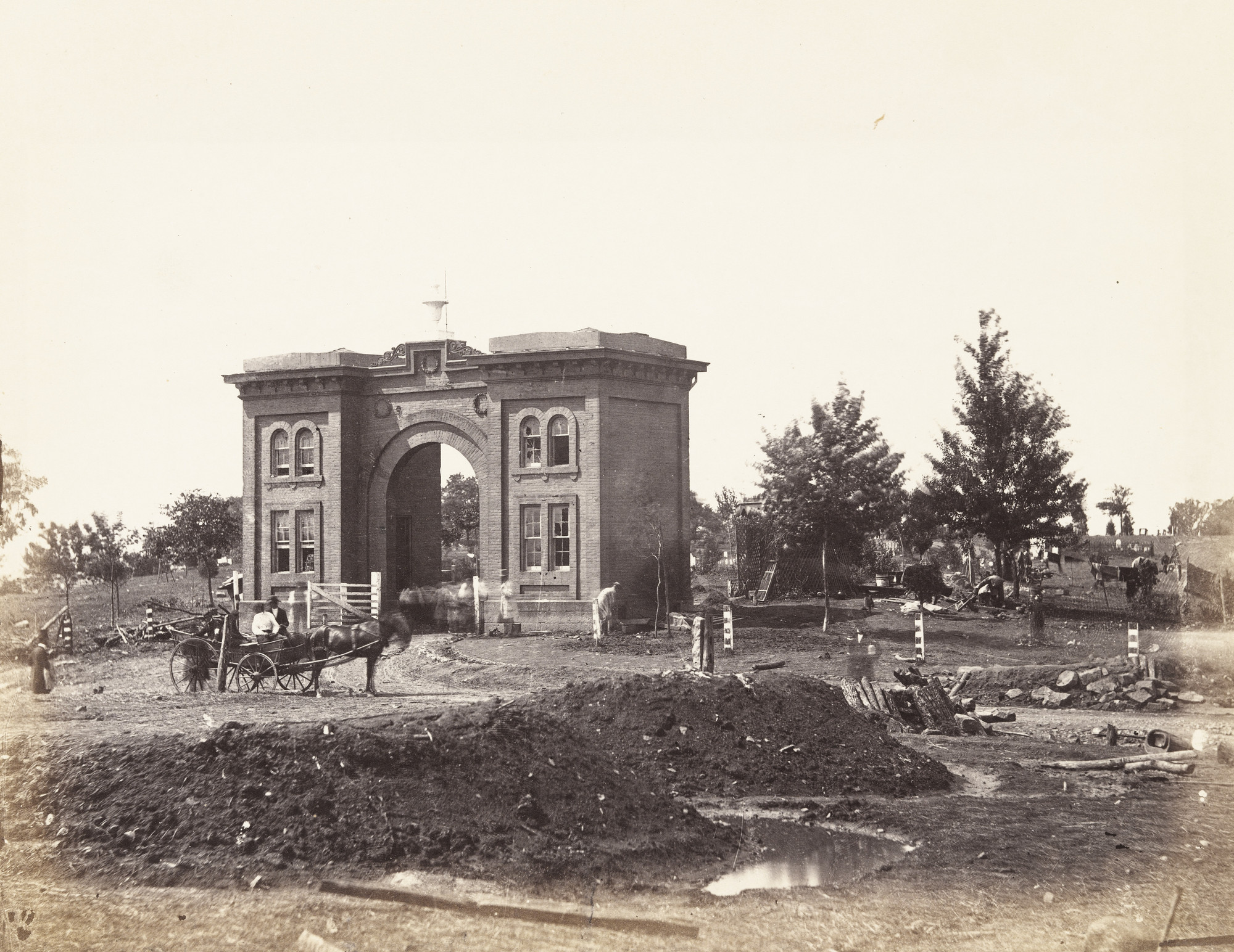 Alexander Gardner, Timothy O'Sullivan. Gateway of Cemetery, Gettysburg. July, 1863