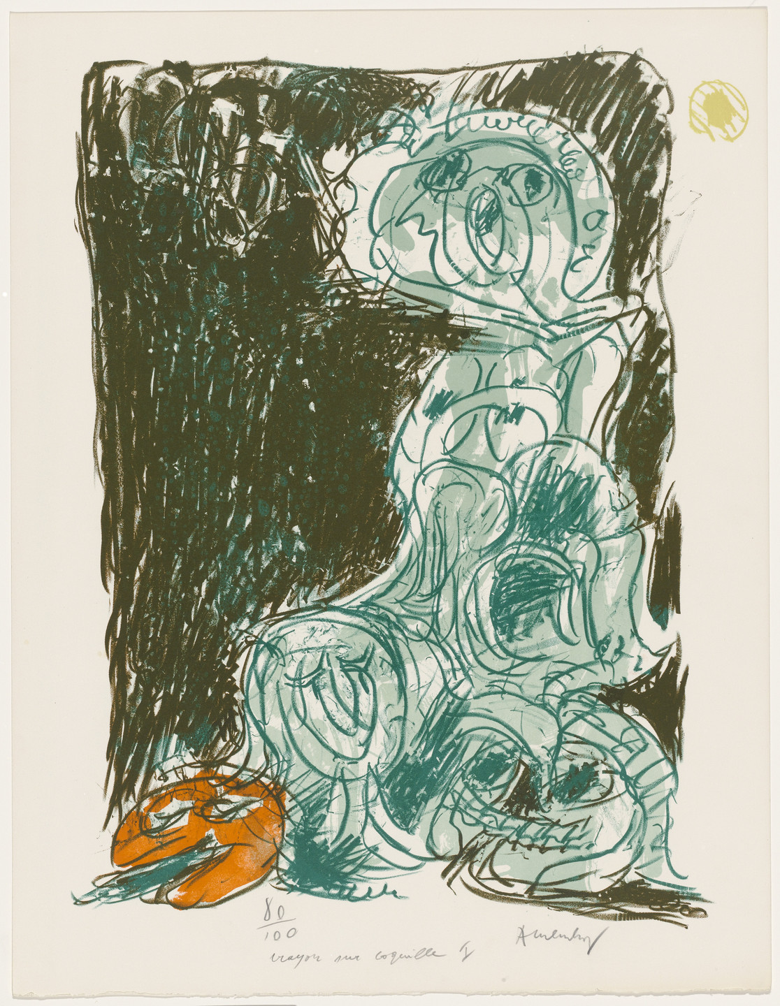 Pierre Alechinsky. Chance and Its Mother (Le hasard et sa mère) from the portfolio Pencil on Shell (Crayon sur coquille). 1971