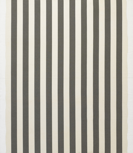 Daniel Buren. White acrylic painting on white and anthracite gray striped fabric. 1966
