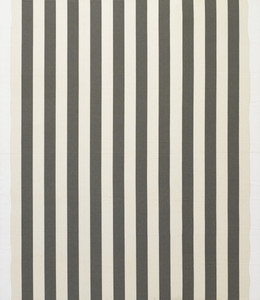 White acrylic painting on white and anthracite gray striped fabric