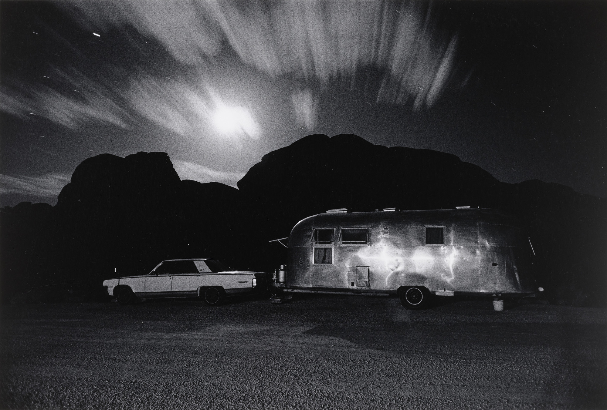 Ikko (Ikko Narahara). Airstream Trailer in Moonlight, Utah. 1972