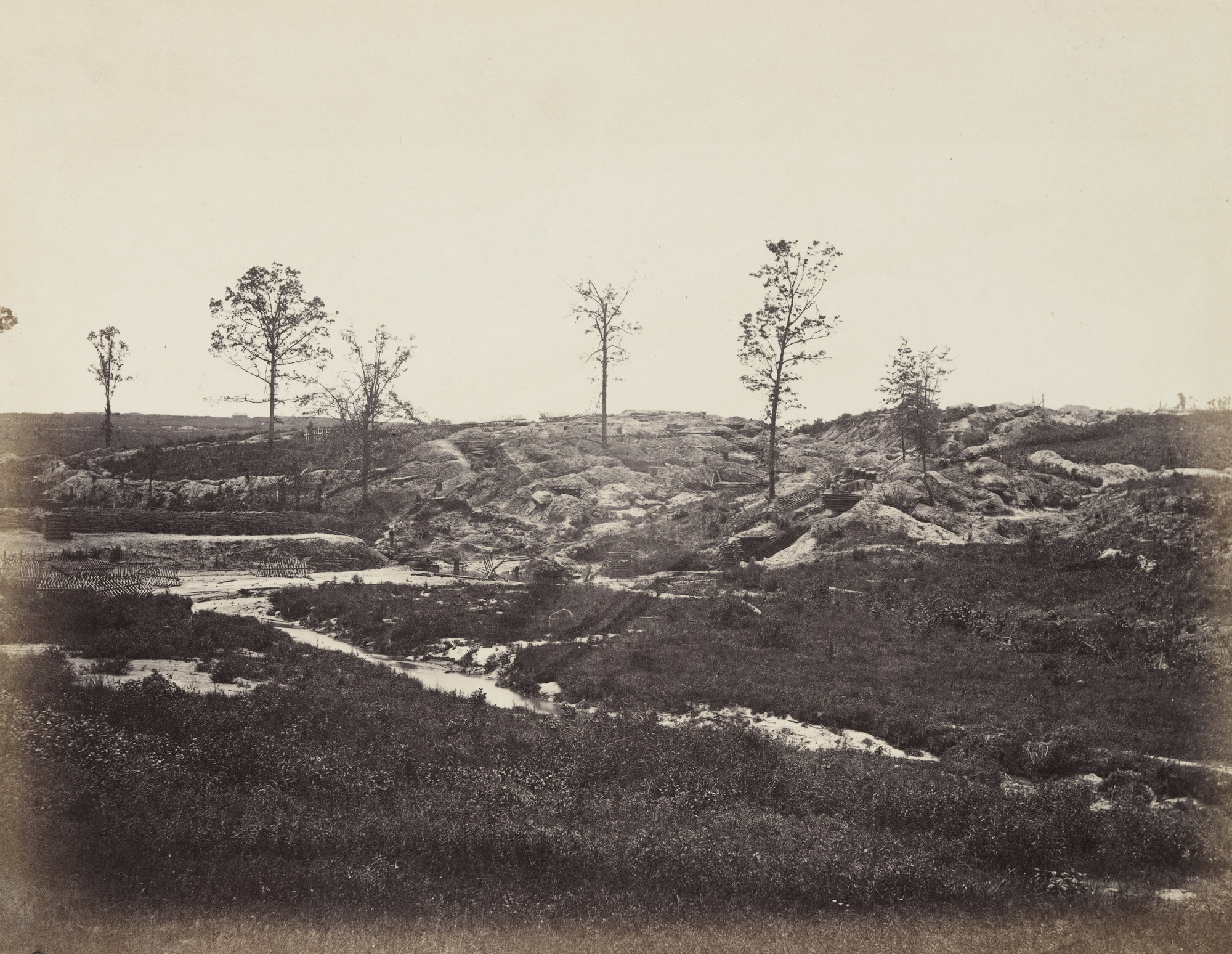 Alexander Gardner, Timothy O'Sullivan. Interior view of the Confederate line (at Gracie's salient). May, 1865