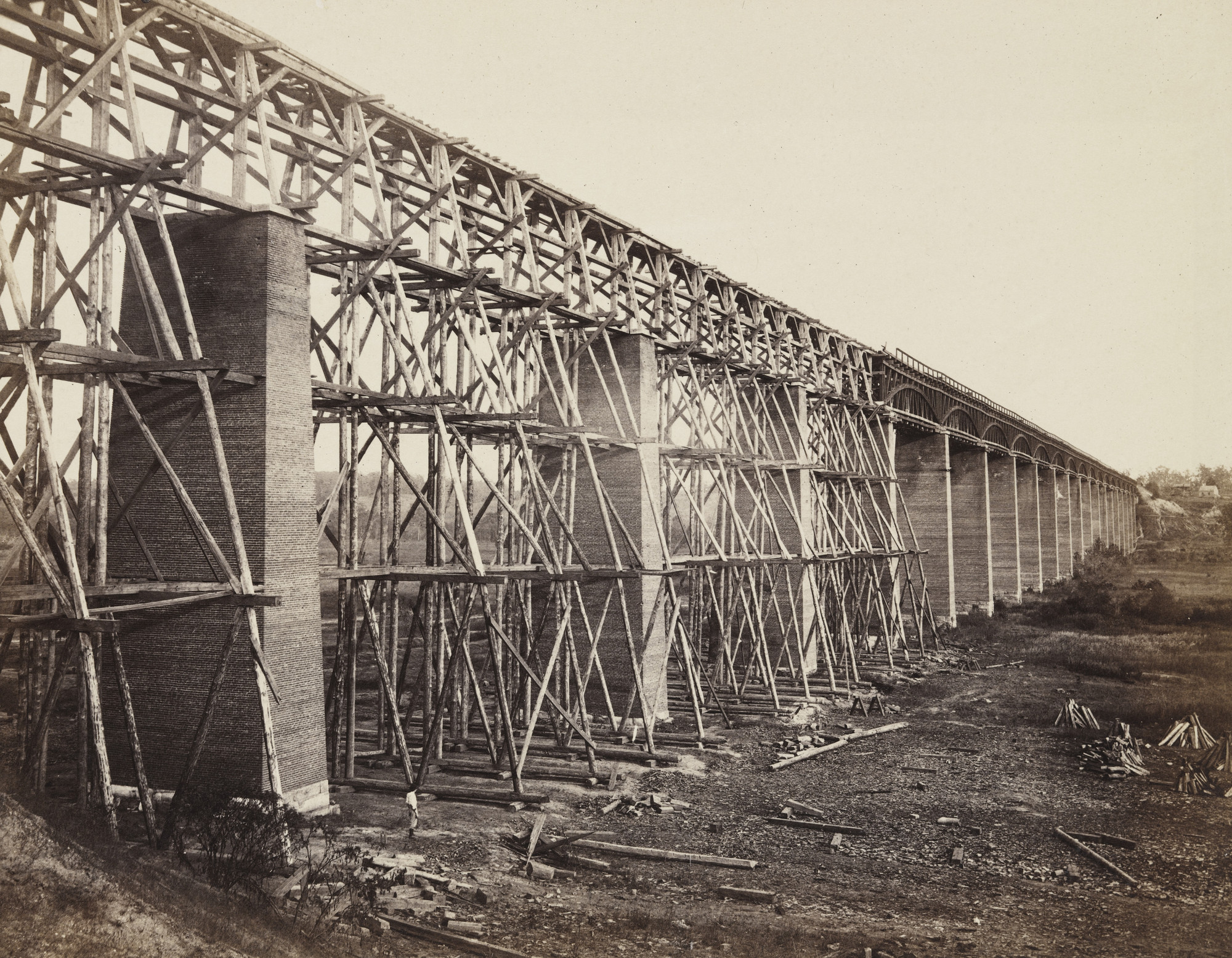 Alexander Gardner, Timothy O'Sullivan. High Bridge crossing the Appomattox, near Farmville (on south side railroad, VA). 1865