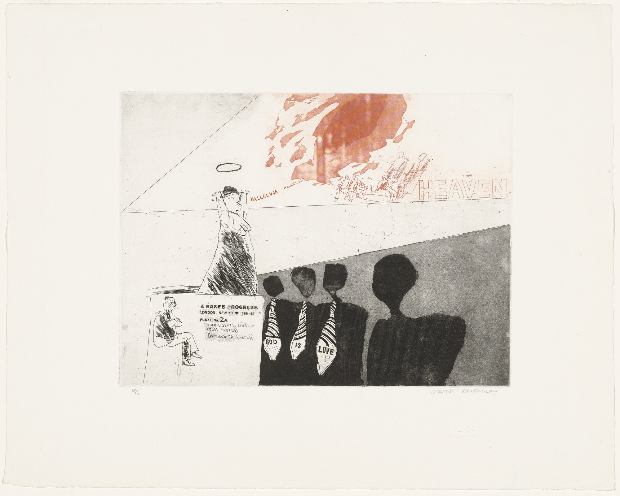 David Hockney. The Gospel Singing (Good People) (Madison Square Garden) (plate 2a) from A Rake's Progress. 1961–62, published 1963