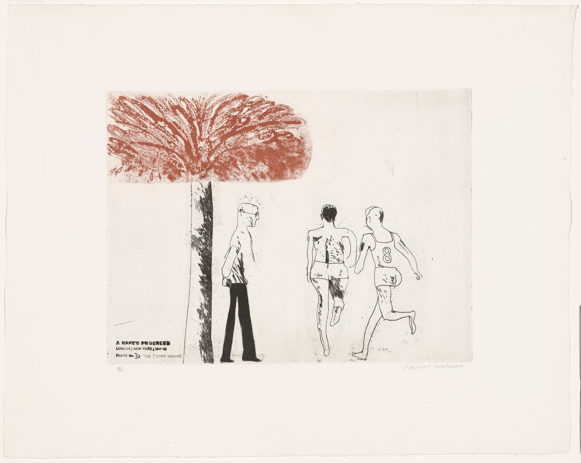 David Hockney. The Seven Stone Weakling (plate 3a) from A Rake's Progress. 1961–62, published 1963