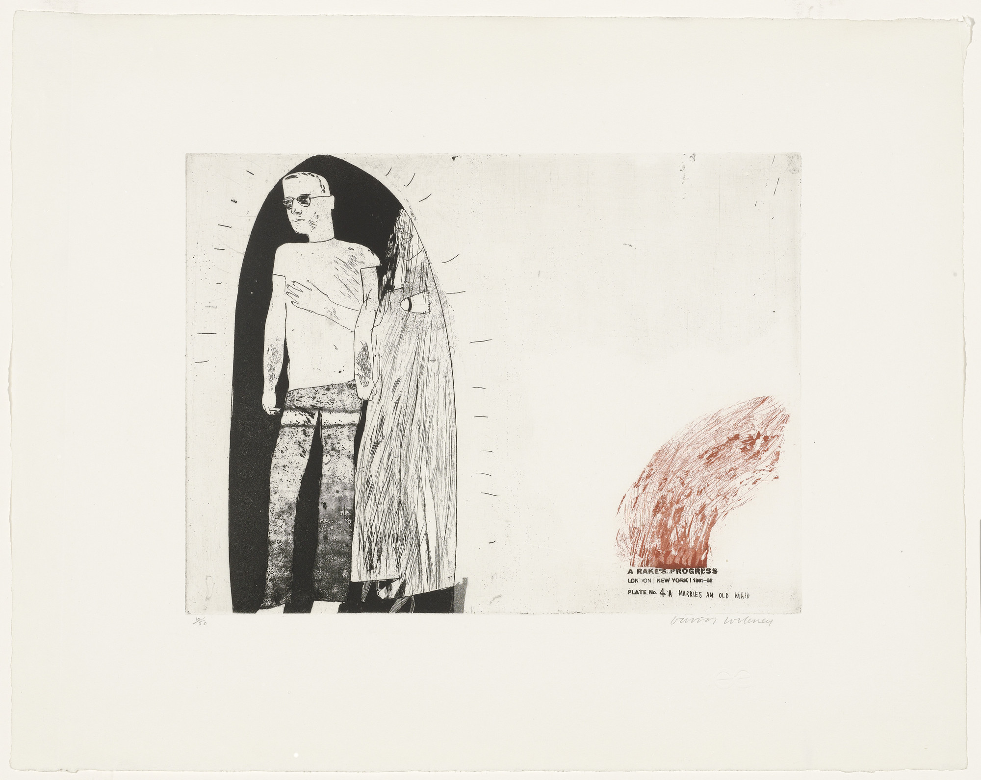 David Hockney. Marries an Old Maid (plate 4a) from A Rake's Progress. 1961–62, published 1963