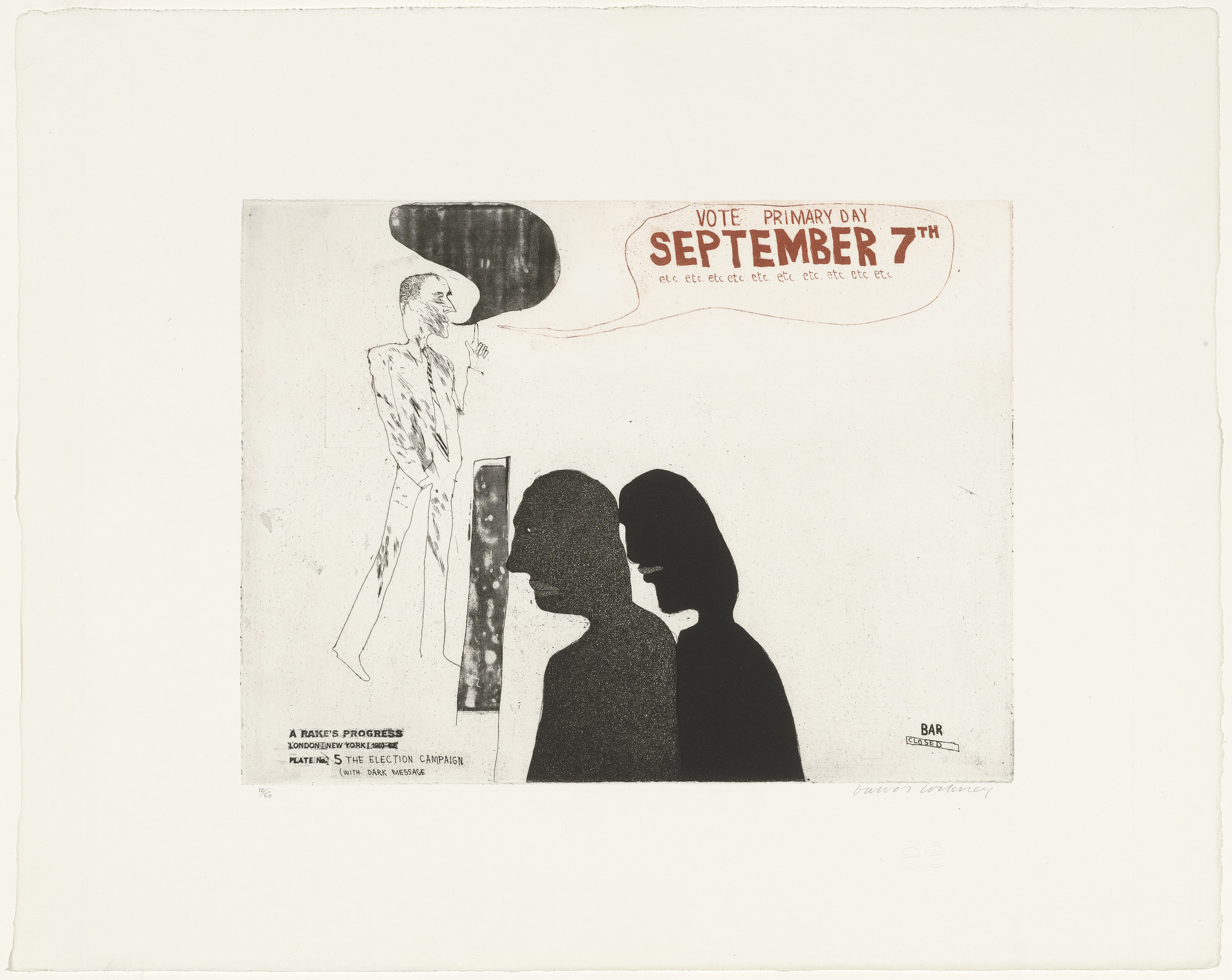 David Hockney. The Election Campaign (with Dark Message) (plate 5) from A Rake's Progress. 1961–62, published 1963