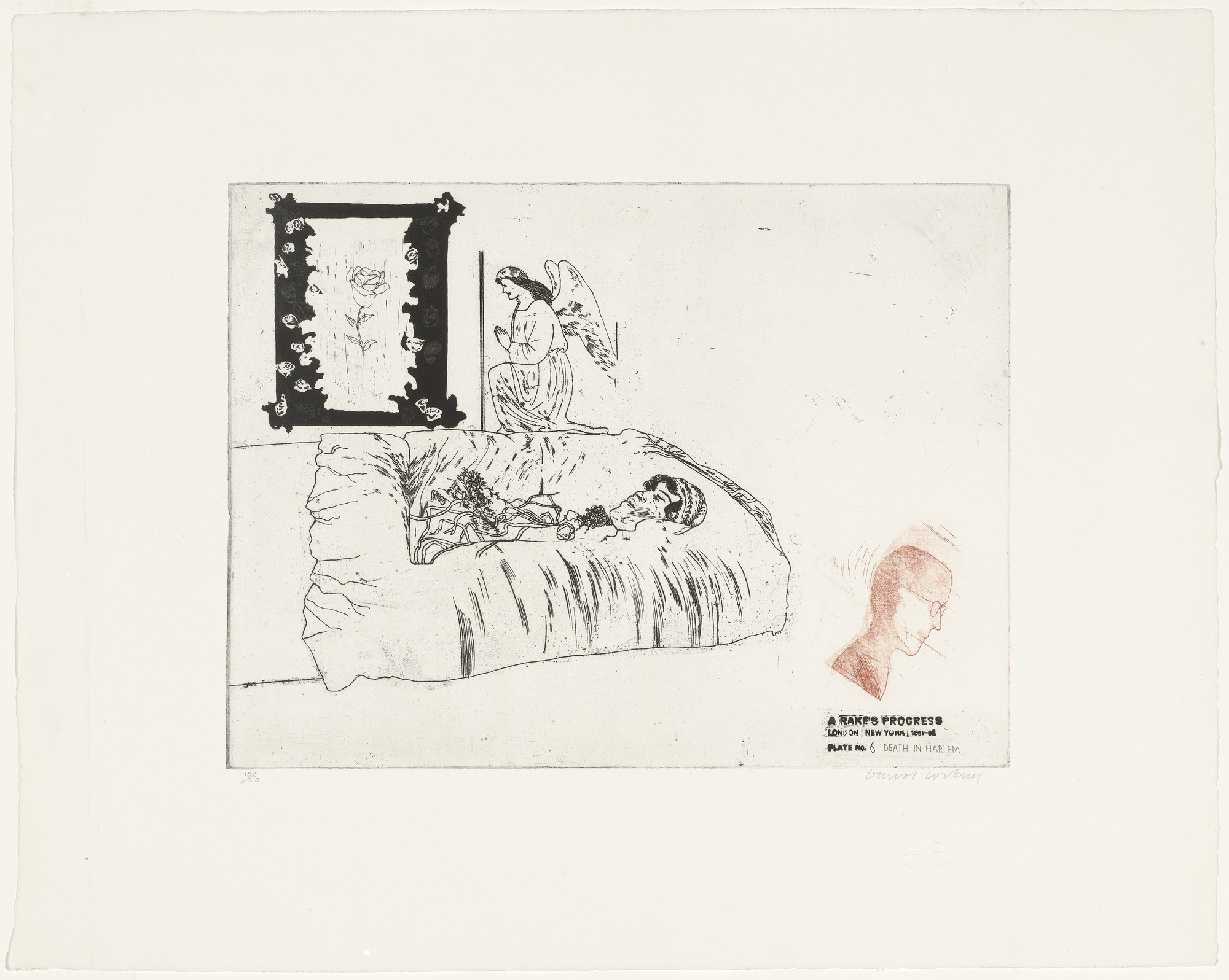 David Hockney. Death in Harlem (plate 6) from A Rake's Progress. 1961–62, published 1963