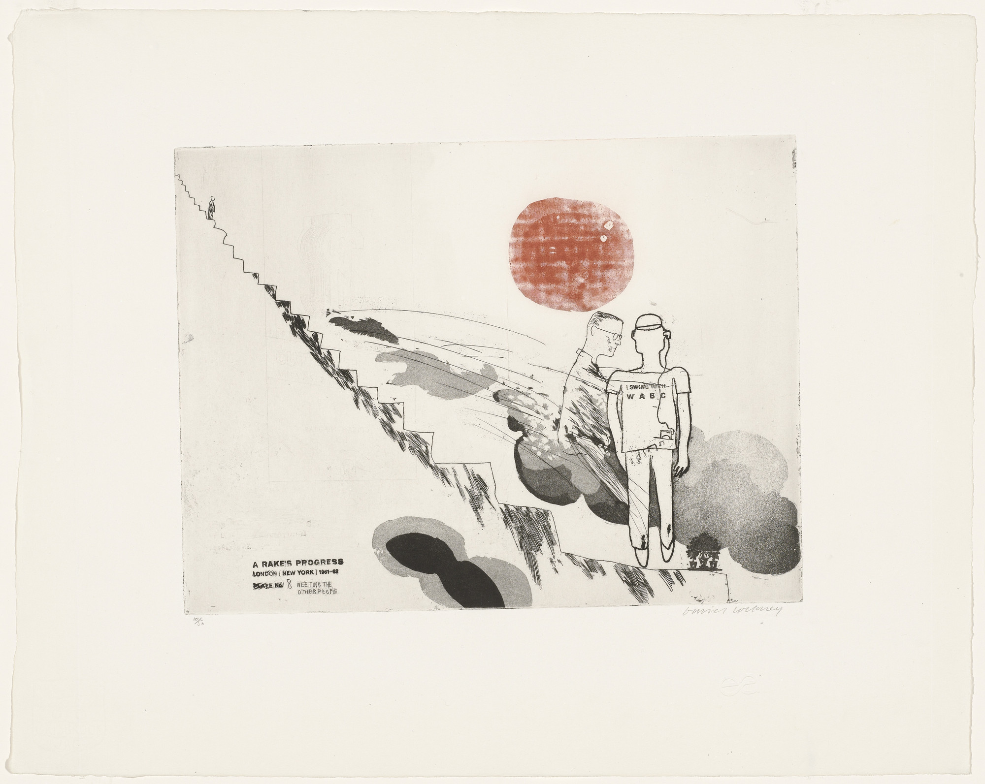 David Hockney. Meeting the Other People (plate 8) from A Rake's Progress. 1961–62, published 1963