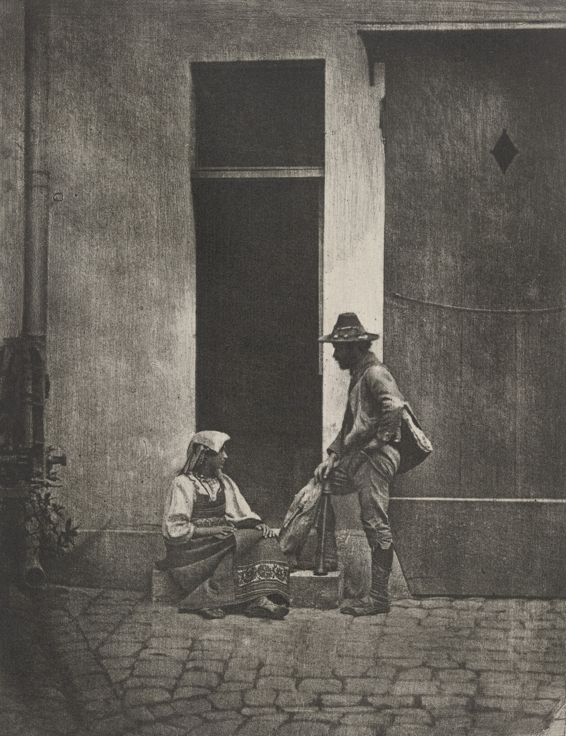 Charles Nègre. Standing Bag Piper and Seated Italiam Peasant Woman, at the Corner of 21 Quai Bourbon. 1855