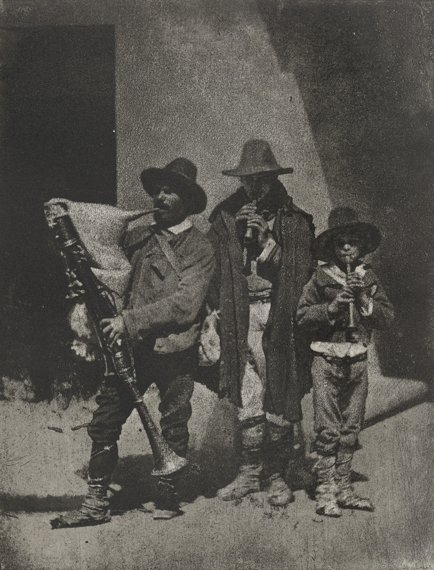 Charles Nègre. Group of Three Bag Pipers Standing on the Corner of 21 Quai Bourbon. 1854