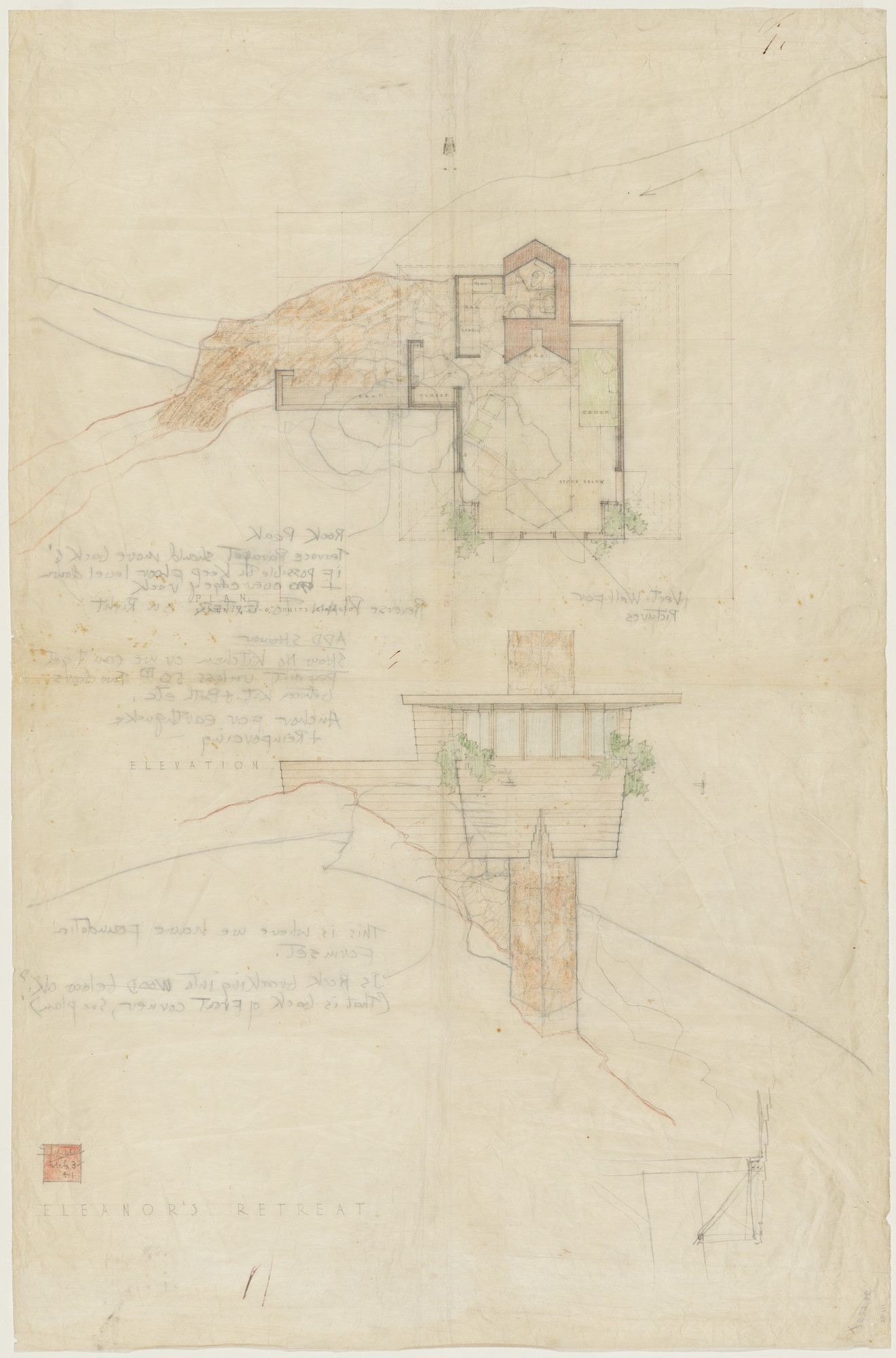 Frank Lloyd Wright. Arch Oboler Guest House (Eleanor's Retreat), project, Malibu, California, Plan and elevation. 1941