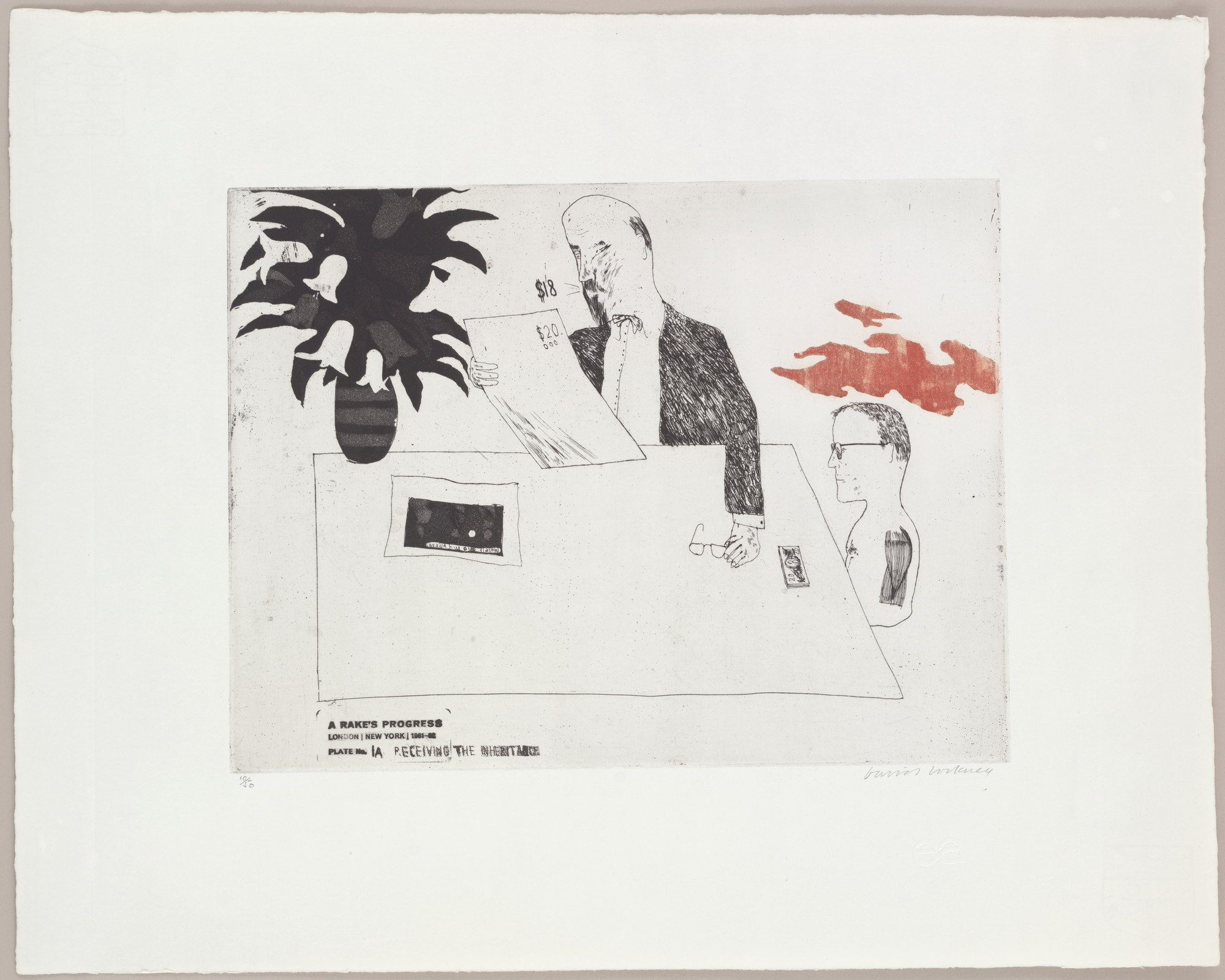 David Hockney. Receiving the Inheritance (plate 1a) from A Rake's Progress. 1961–62, published 1963