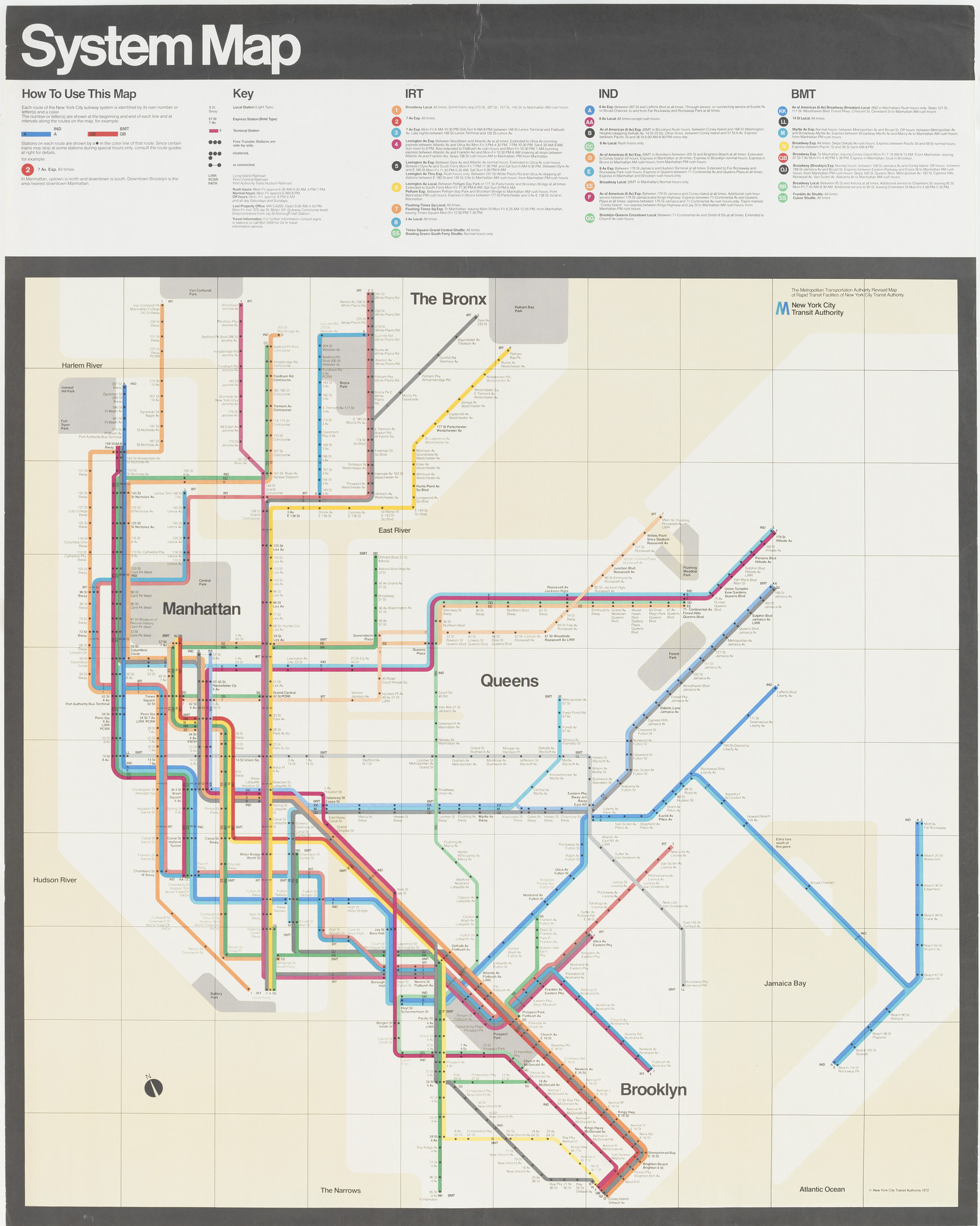 Massimo Vignelli, Joan Charysyn, Bob Noorda, Unimark International Corporation, New York. New York Subway Map. 1970-1972