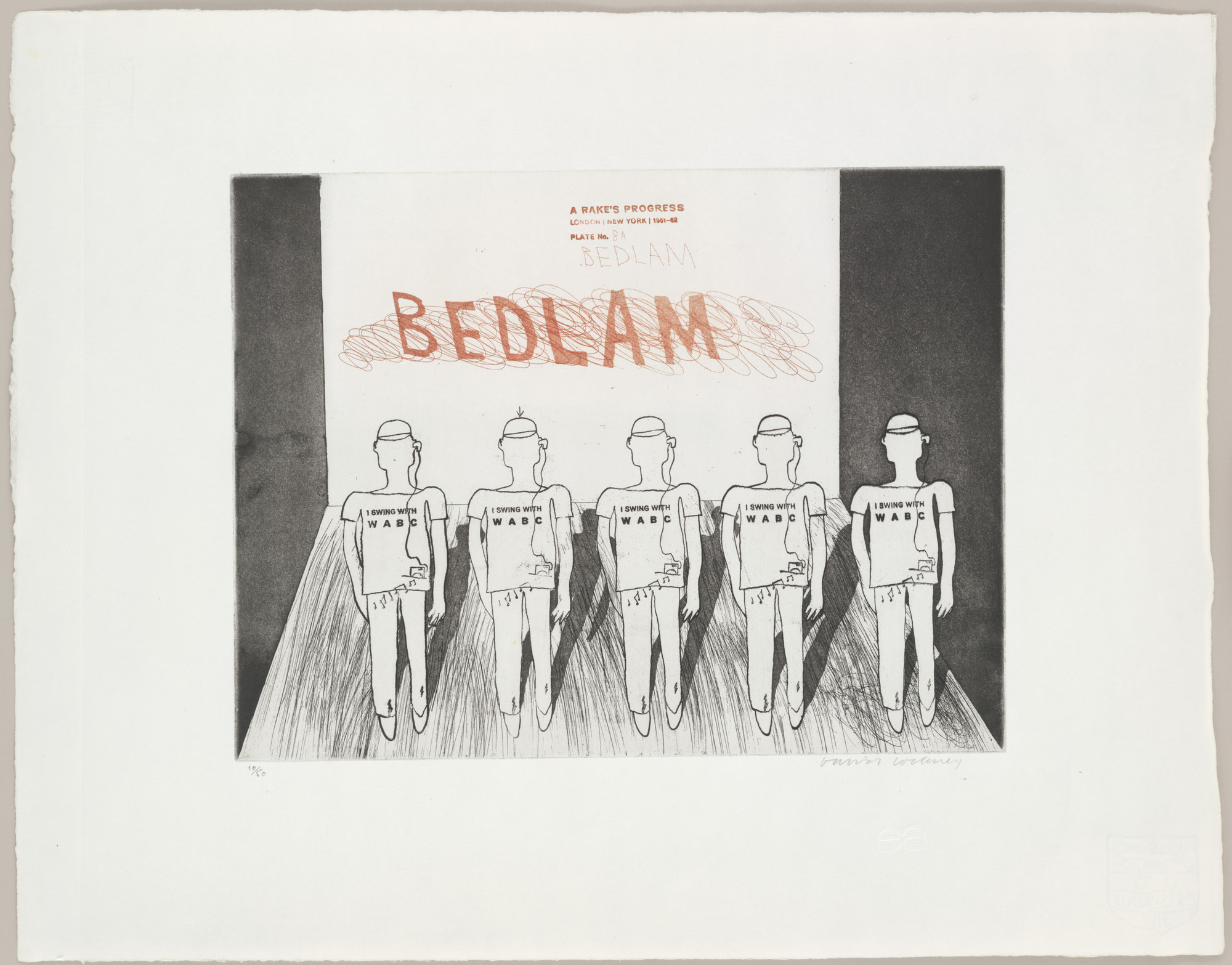 David Hockney. Bedlam (plate 8a) from A Rake's Progress. 1961–62, published 1963