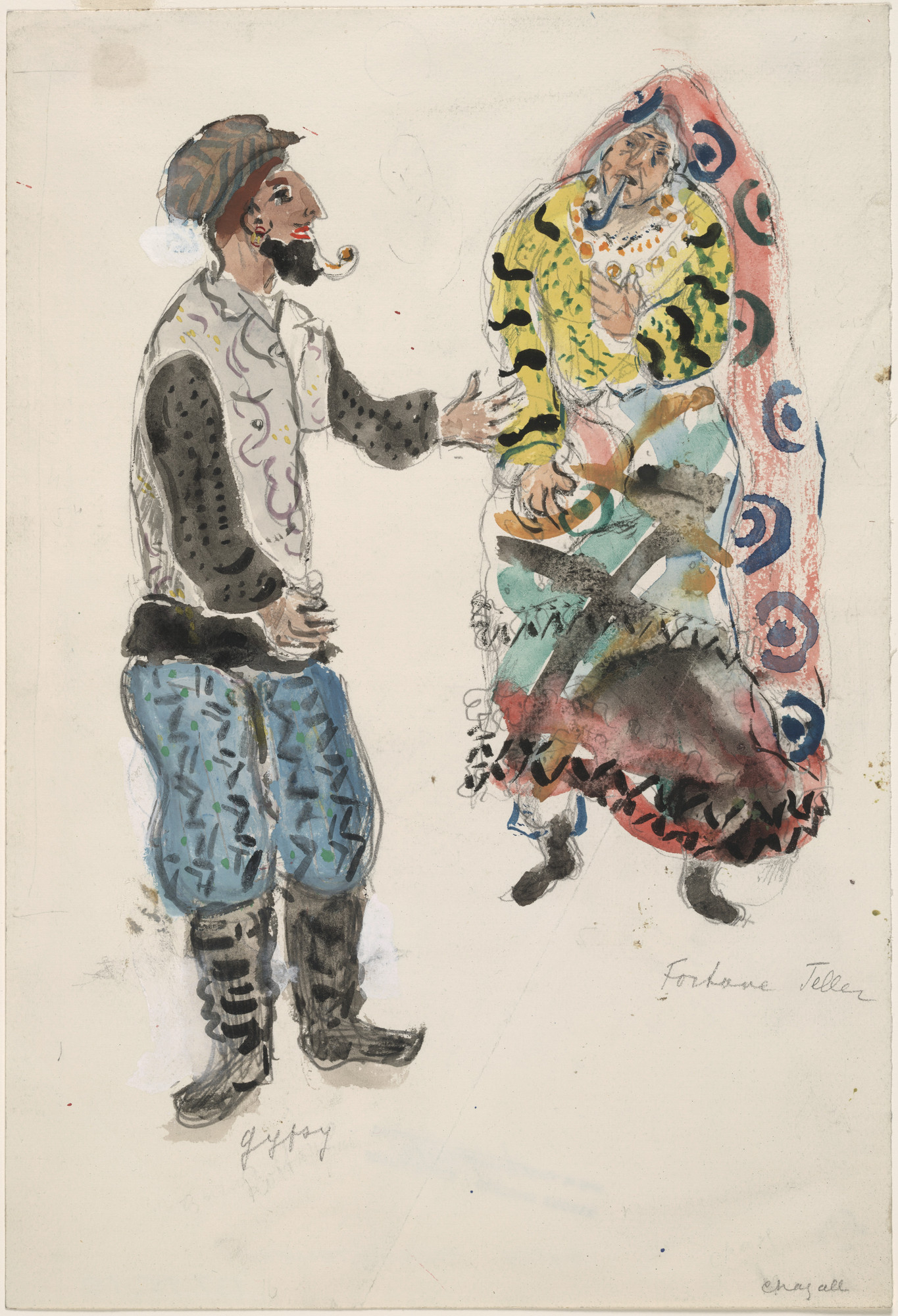 Marc Chagall. A Fortune Teller and a Gypsy, costume design for Aleko (Scene I). (1942)