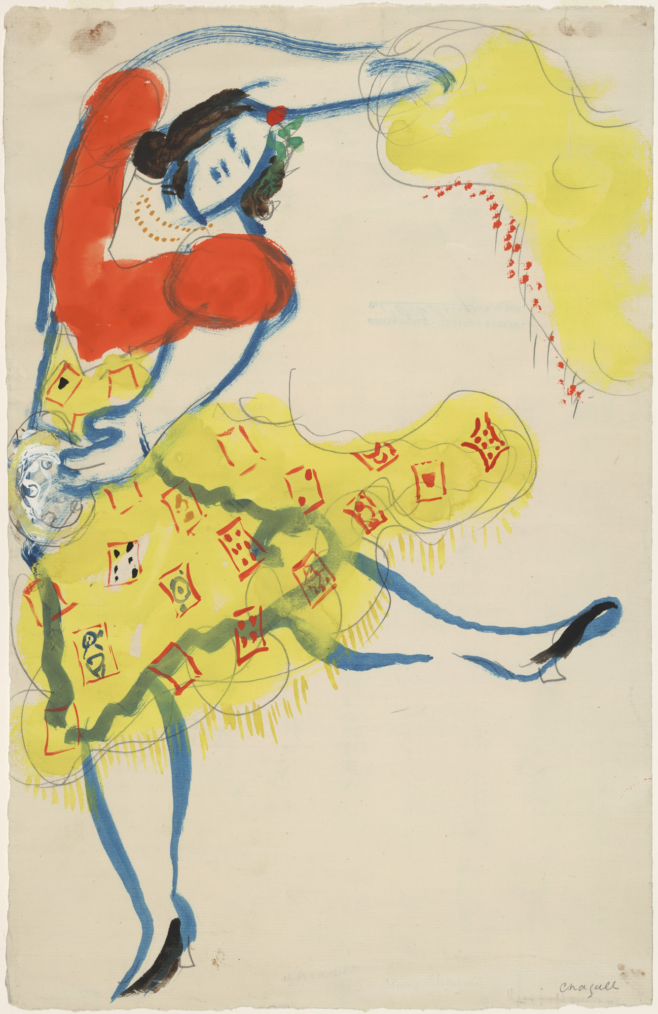 Marc Chagall. Gypsy, costume design for Aleko (Scene I). (1942)