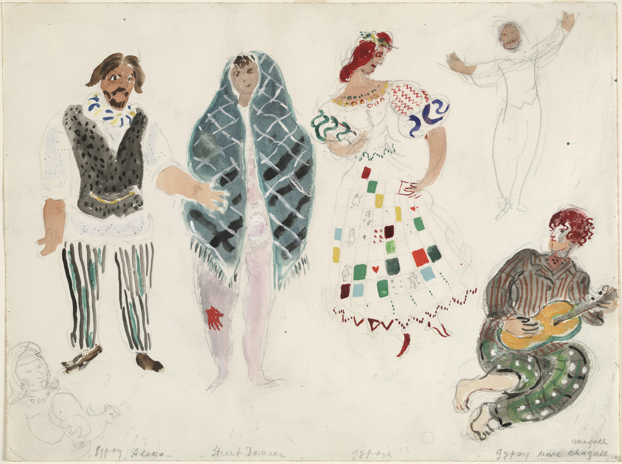 Marc Chagall. A Street Dancer and Gypsies, costume design for Aleko (Scene II). (1942)