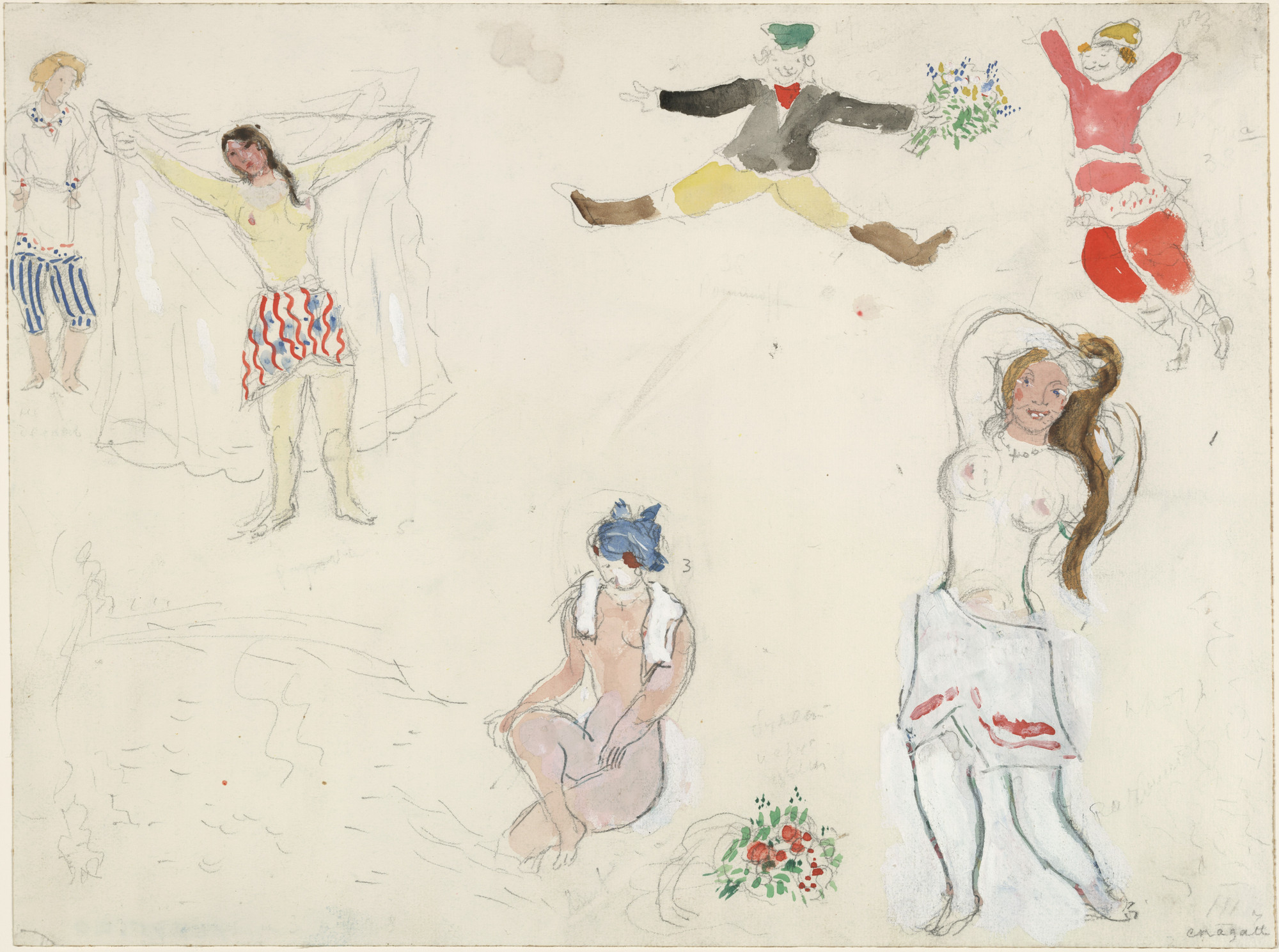 Marc Chagall. Costumes for Bathers and Peasants, costume design for Aleko. (1942)