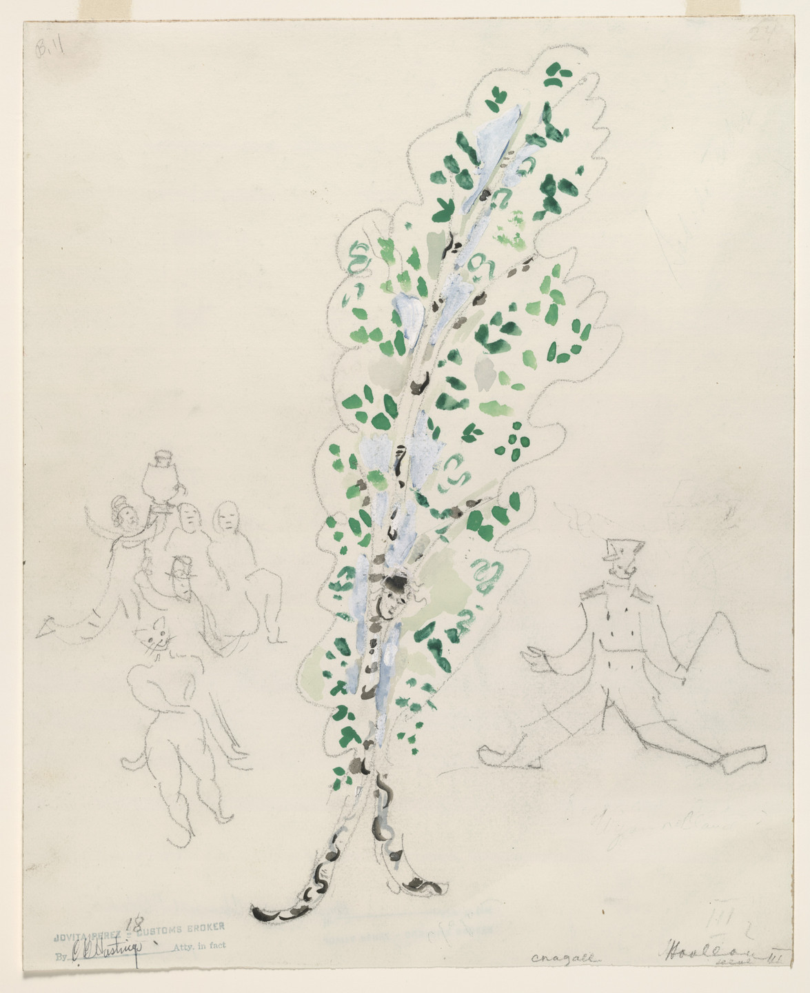 Marc Chagall. A Birch Tree. Costume design for Scene III of the ballet Aleko. 1942